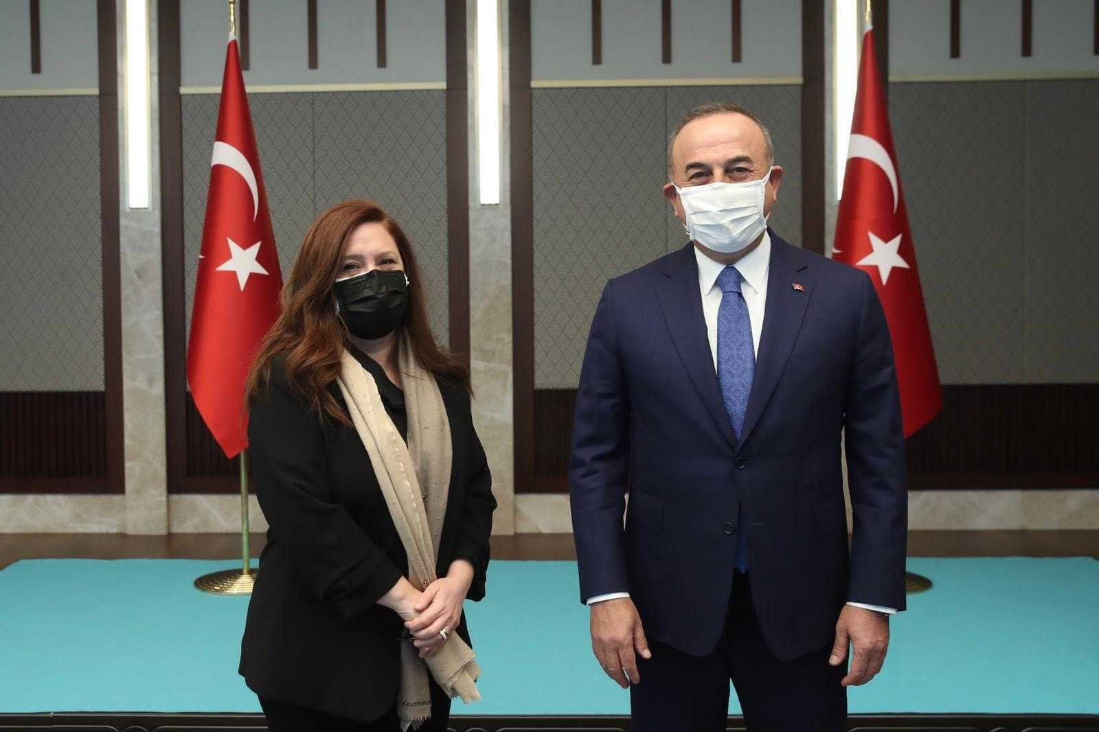 Foreign Minister Mevlüt Çavuşoğlu with Daily Sabah Ankara Representative Nur Özkan Erbay, Dec. 30, 2020 (Courtesy of the Foreign Ministry)