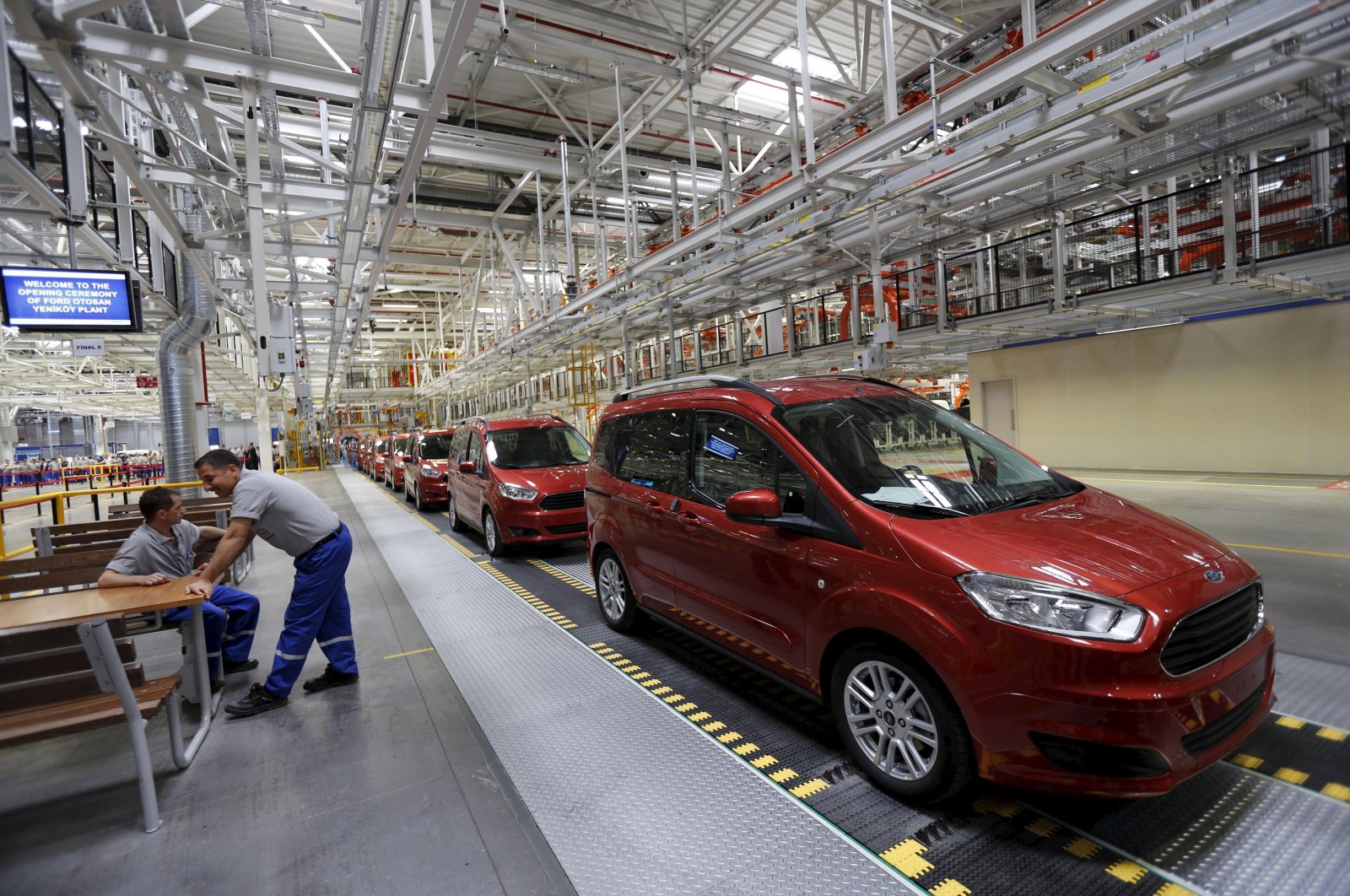 Ford Tourneo Courier light commercial vehicles are pictured at the Ford Otosan Yeniköy car plant in Kocaeli, northwestern Turkey, May 22, 2014.