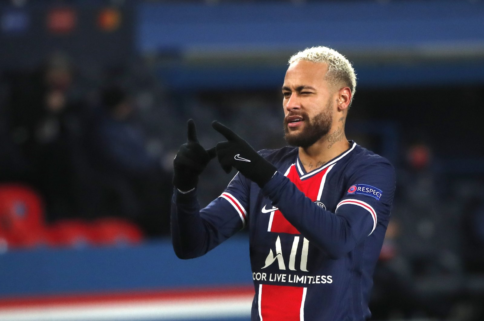 Paris Saint-Germain's Neymar celebrates a goal during a Champions League match against Istanbul Başakşehir at the Parc des Princes stadium, in Paris, France, Dec. 9, 2020. (AP Photo)