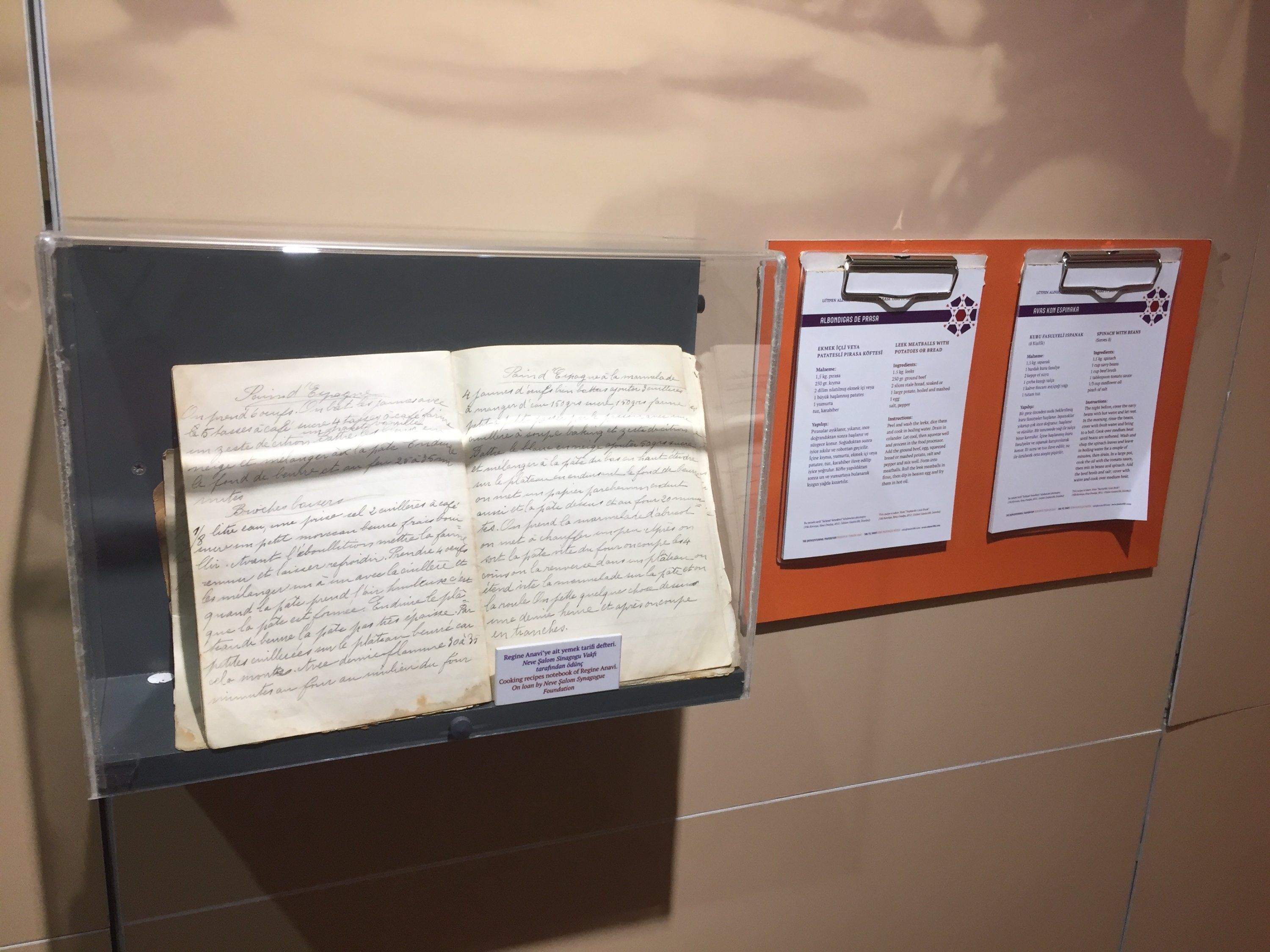An old recipe book and two tear-off pads of Turkish-Jewish family recipes at the Jewish museum in Istanbul, Turkey. (Photo by Paris Achen)