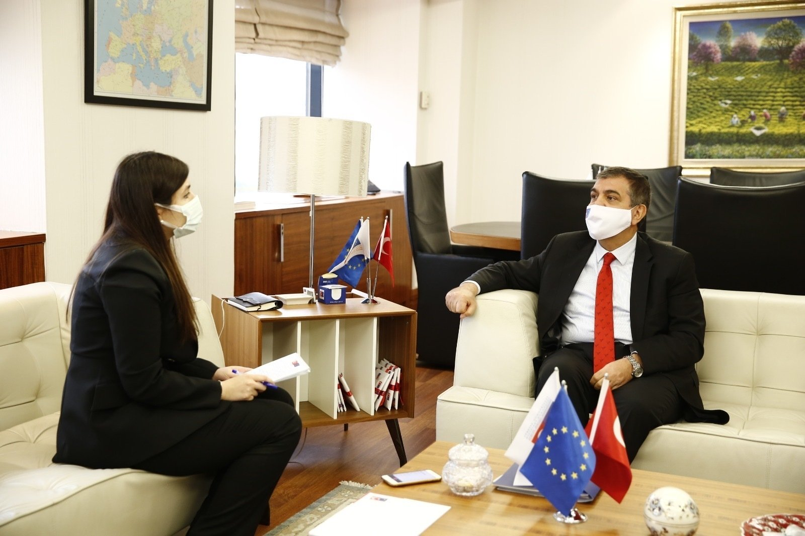 Deputy Foreign Minister Faruk Kaymakcı and Daily Sabah's Dilara Aslan during an interview at the EU affairs directorate in the capital Ankara, Dec. 22, 2020. (Courtesy of the Foreign Ministry)