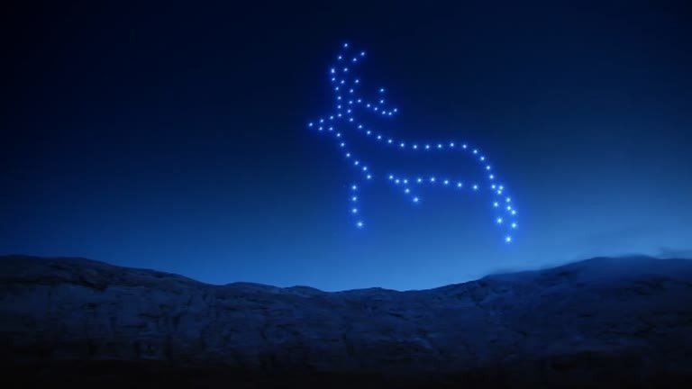 Drones form an image of a luminous stag as part of the Edinburgh's Hogmanay festival's New Year celebrations in Scotland. (Reuters Photo)