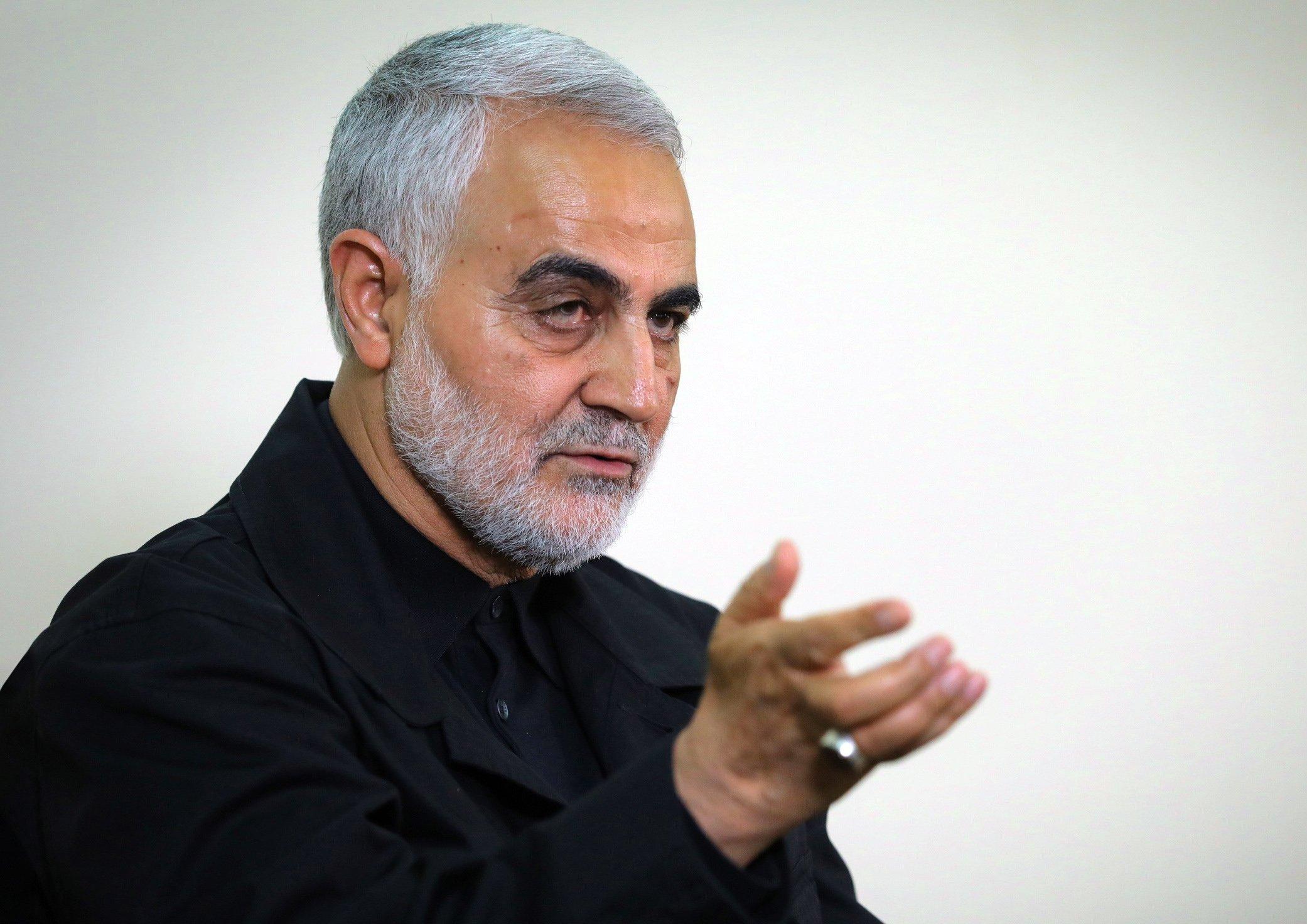 Qassem Soleimani is speaking during an interview with members of the Iranian leader's bureau in Tehran, Iran, Oct. 1, 2019. (KHAMENEI.IR / AFP)