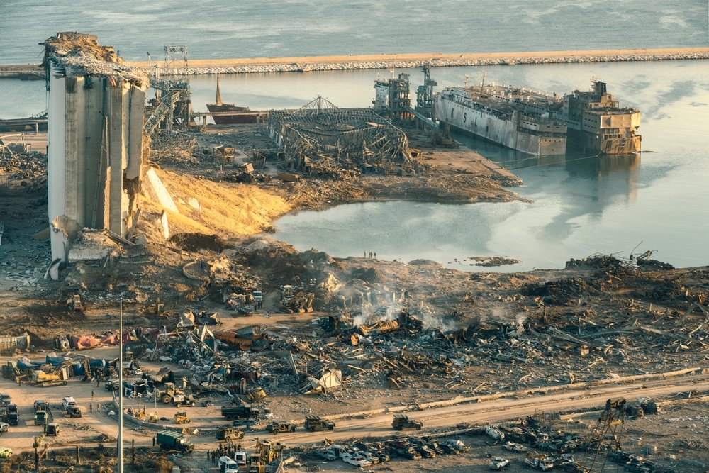 The picture shows the damage caused by a colossal explosion at the port of Beirut, Aug. 9, 2020. (Shutterstock)