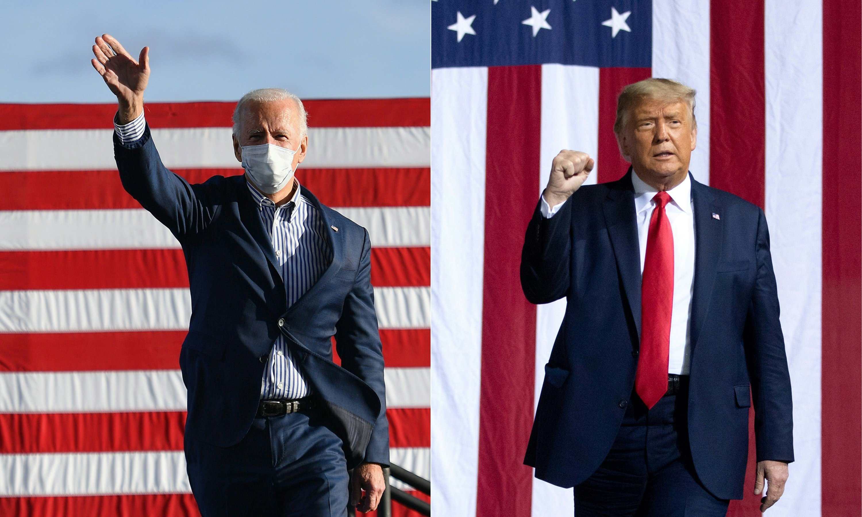 Vice President Joe Biden waves to supporters and U.S. President Donald Trump arrives to hold a Make America Great Again rally as he campaigns in Gastonia, North Carolina, U.S., Oct. 21, 2020. (AFP Photo)