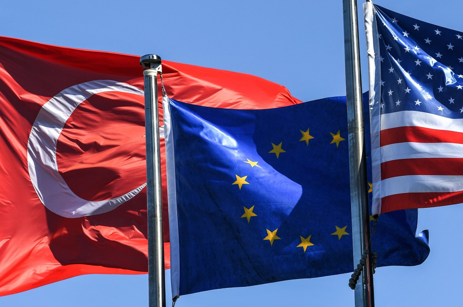 The flags of Turkey, the European Union and the U.S. flutter in Istanbul's financial and business district Maslak, Turkey, Aug. 15, 2018 (AFP Photo)