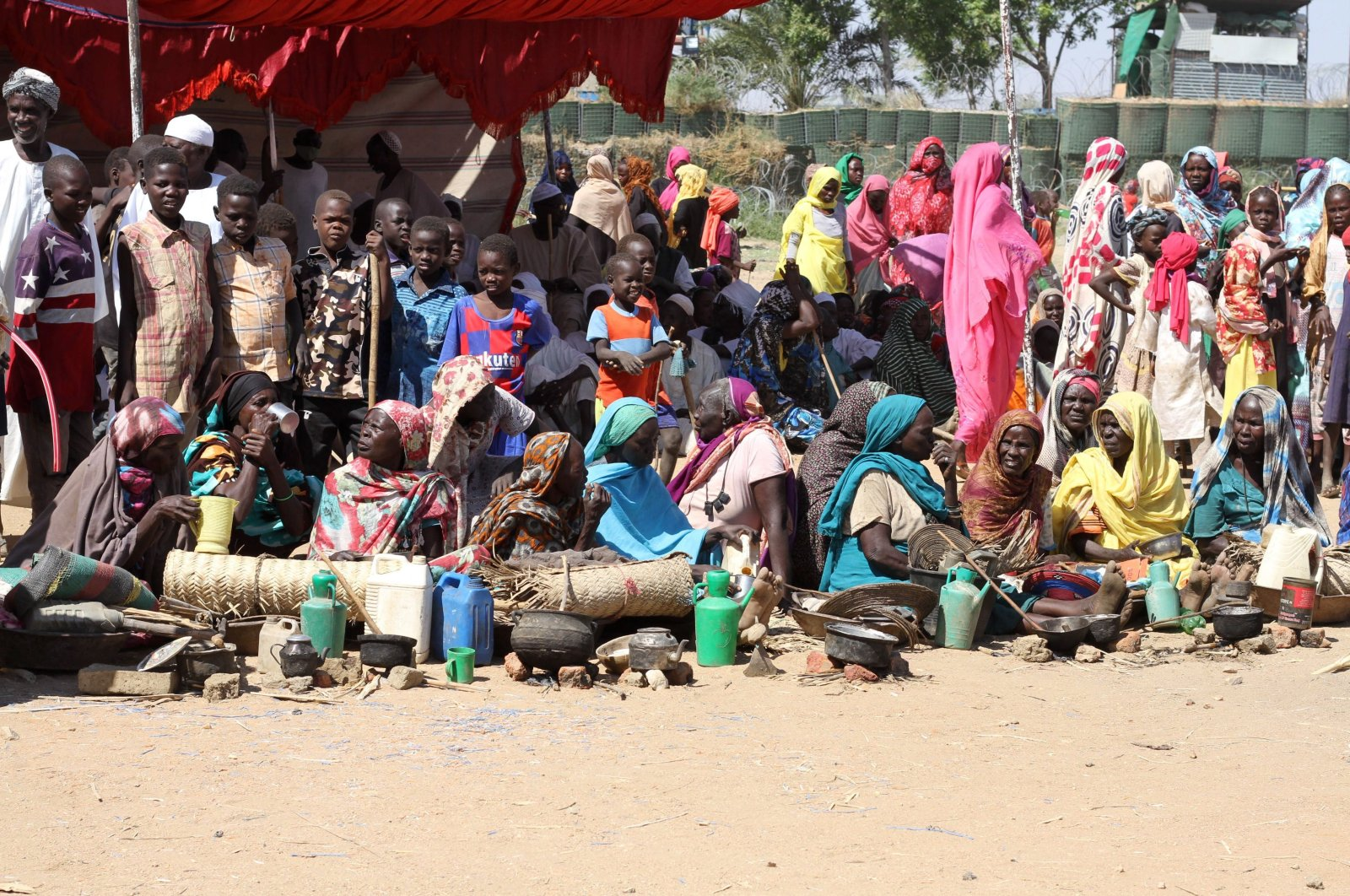 Sudanese internally displaced people stage a sit-in to protest the end of the African Union-United Nations Hybrid Operation in Darfur (UNAMID) mandate, in the Kalma camp in Nyala, the capital of South Darfur, Sudan, Dec. 30, 2020. (AFP Photo)