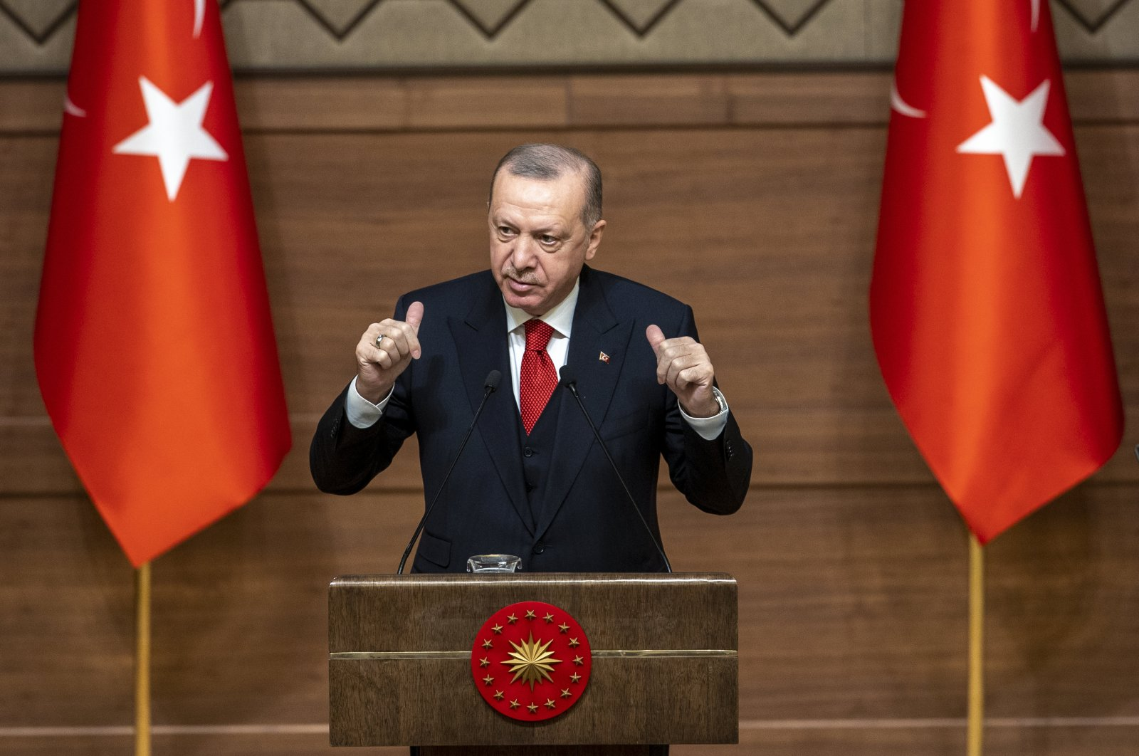 President Recep Tayyip Erdoğan speaks during Presidential Culture and Art Grand Awards ceremony held at Presidential Complex, Ankara, Turkey, Dec. 31, 2020. (AA Photo)