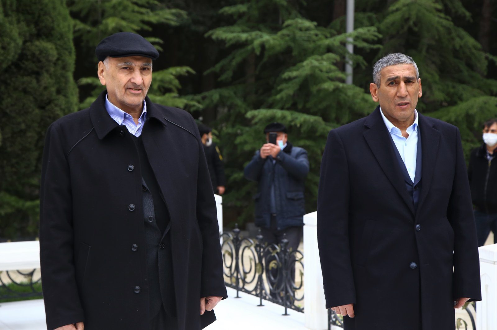 Şahbaz Guliyev (R) and Dilgam Esgerov (L) pictured in the Azerbaijani city of Baku on Jan. 1, 2020 (AA Photo)