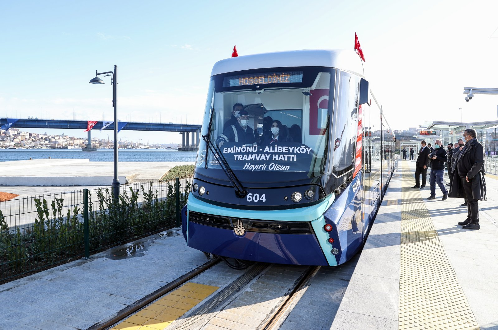 A rolling stock that will serve on the T5 Eminönü-Alibeyköy tram line seen during the inauguration ceremony, in Istanbul, on Jan. 01, 2020. (AA Photo)