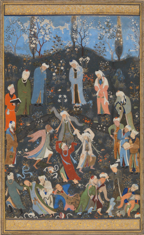 Persian painter Kamaleddin Behzad's illustration depicting Sufi dervishes.