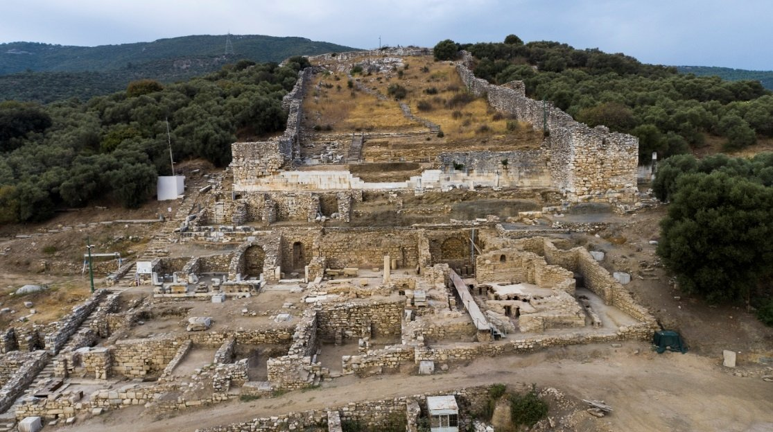 The cisterns have been discovered in the acropolis, the Greek citadel built upon elevated ground in the city, under a 7-meter area filled with earth, Dec. 28, 2020. (DHA Photo/Müge Yarımbatman)