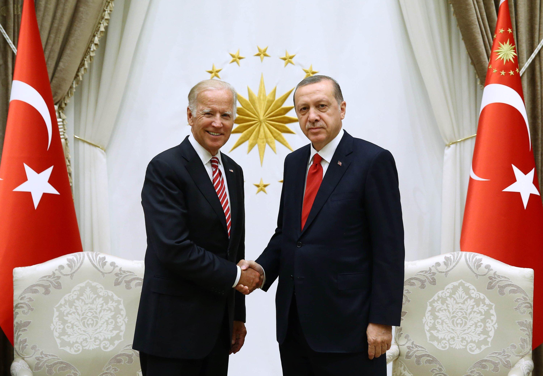 President Recep Tayyip Erdoğan receives then Vice President, Joe Biden, now president-elect, in Ankara, Aug.24, 2016. (Photo by Turkish Presidency)