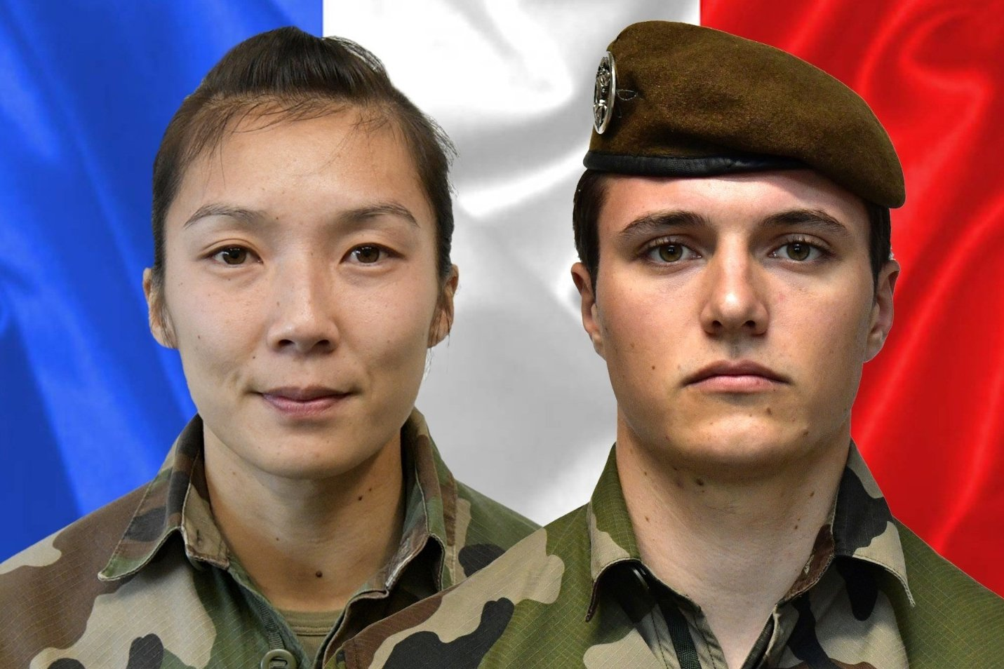 Sergeant Yvonne Huynh (L) and Brigadier Loic Risser, the two French soldiers killed by an improvised explosive device in northeastern Mali on Jan. 3, 2021. (AFP Photo)