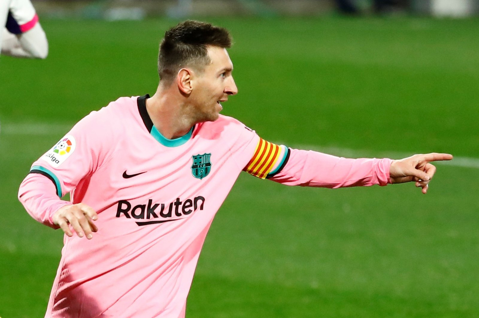 Barcelona's Lionel Messi celebrates scoring their third goal against Real Valladolid, in Valladolid, Spain, Dec. 22, 2020. (REUTERS PHOTO)