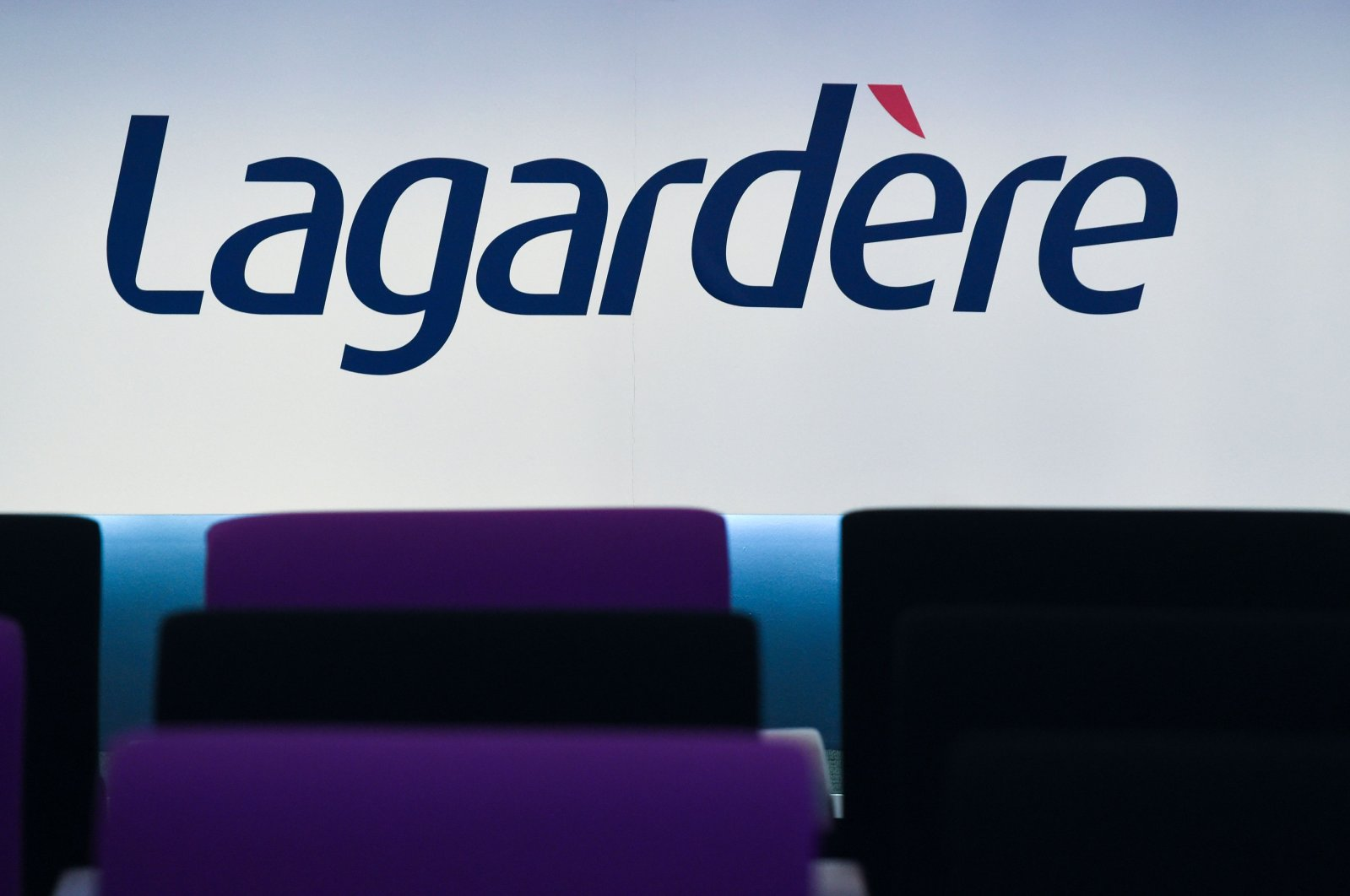 The logo of the French media group Lagardere taken during a press conference to present the group's 2018 results in Paris, March 13, 2019. (AFP Photo)