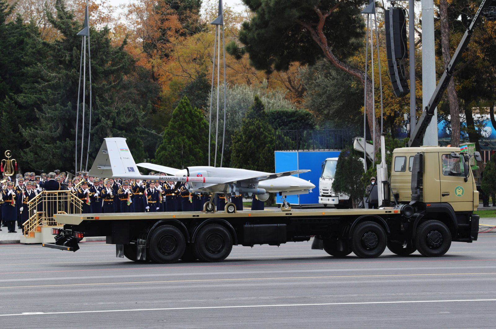 An Azerbaijan army Bayraktar TB2, a medium-altitude, long-endurance unmanned combat aerial vehicle, is displayed during a military parade to mark the victory in the Nagorno-Karabakh conflict, in Baku, Azerbaijan, Dec. 10, 2020. (Turkish Presidential Press Office / Handout via Reuters)