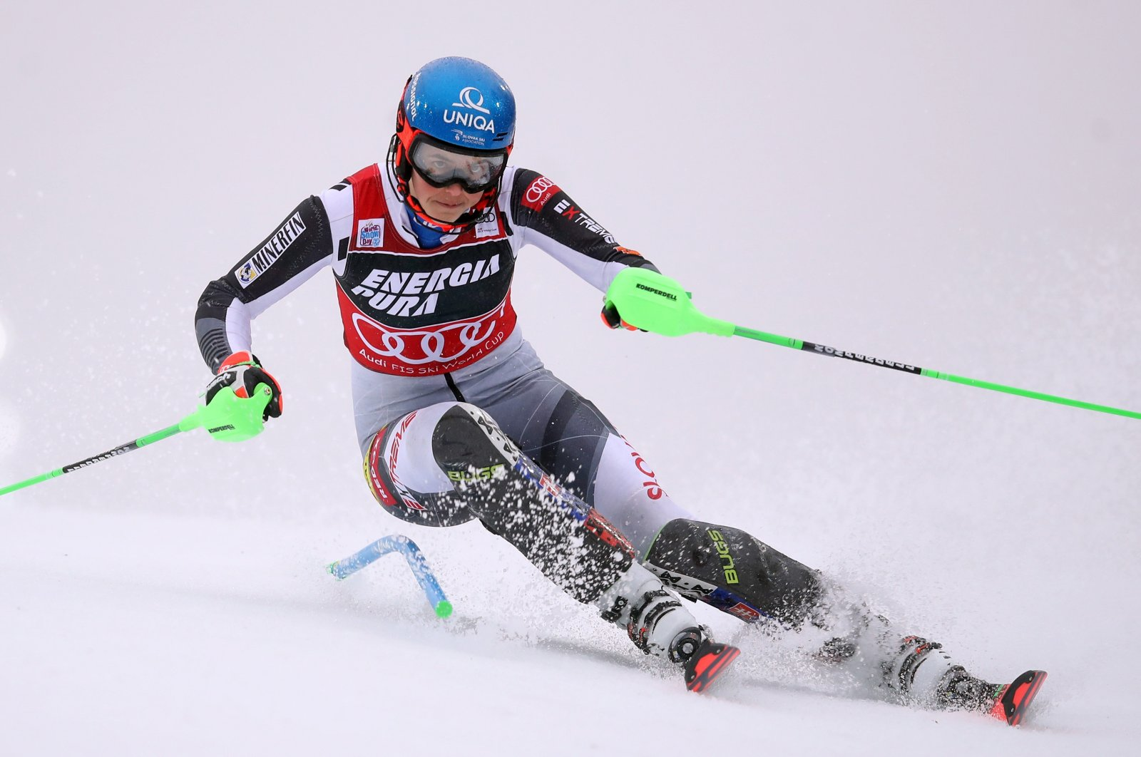 Petra Vlhova of Slovakia clears the pole during the race, in Zagreb, Croatia, Jan. 3, 2021. (AFP Photo)