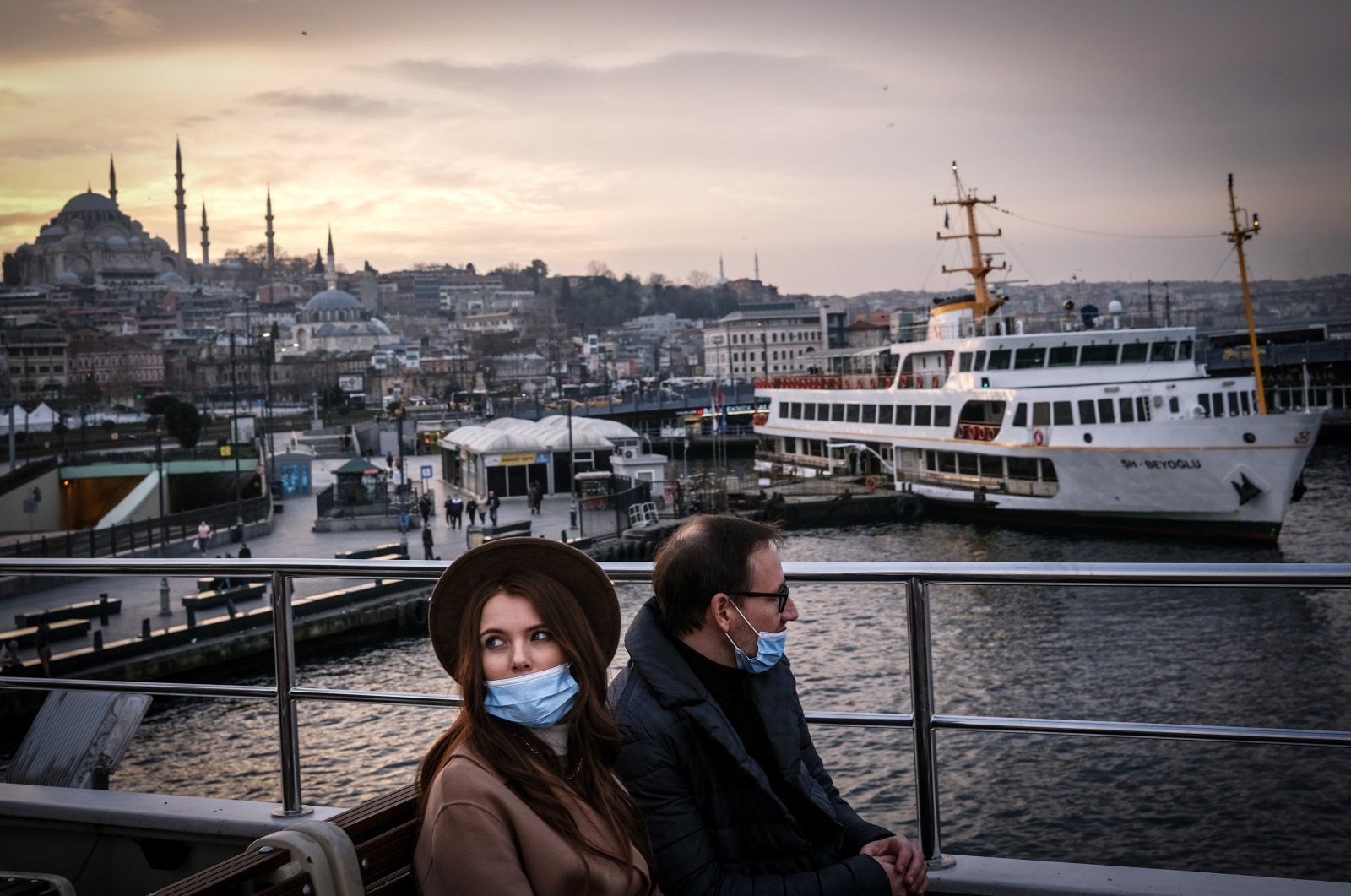 Tourists sit on a ferry as they travel from Europe to Asia during the lockdown in Istanbul, Turkey, Jan. 3, 2021. (EPA Photo)