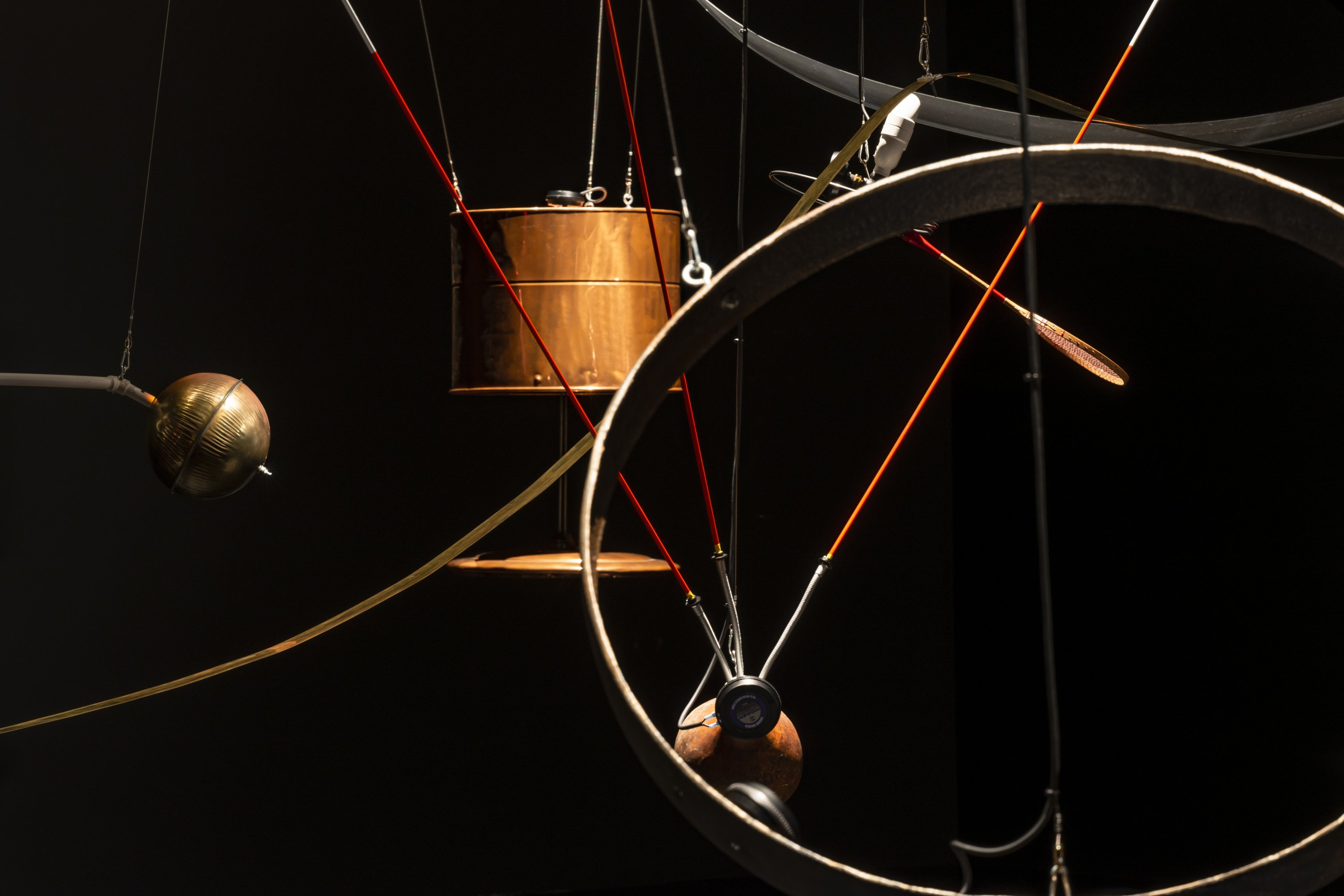 A close-up of copper objects from