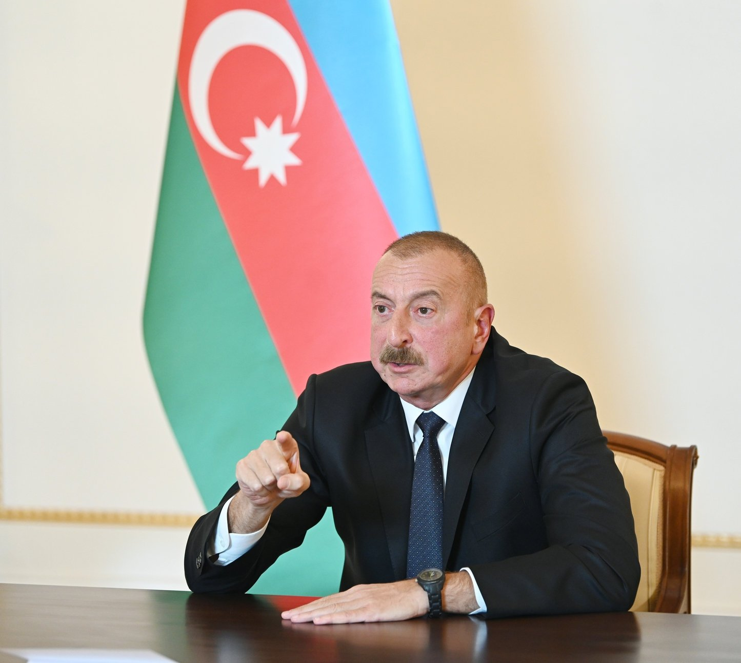 Azerbaijani President Ilham Aliyev holds a televised address to the nation in Baku, October 4, 2020. (AFP Photo)