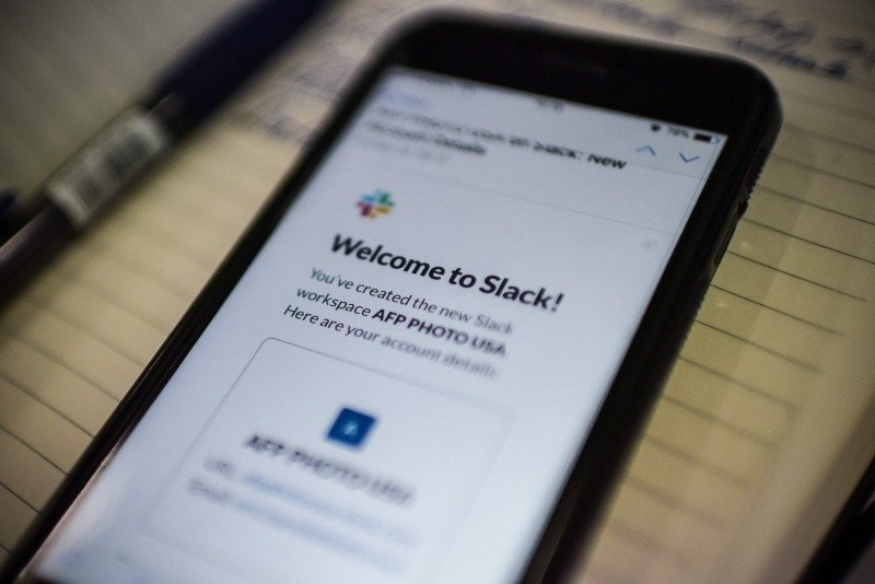 This image shows the Slack application displayed on a smartphone screen in Washington, Feb. 04, 2019. (AFP Photo)