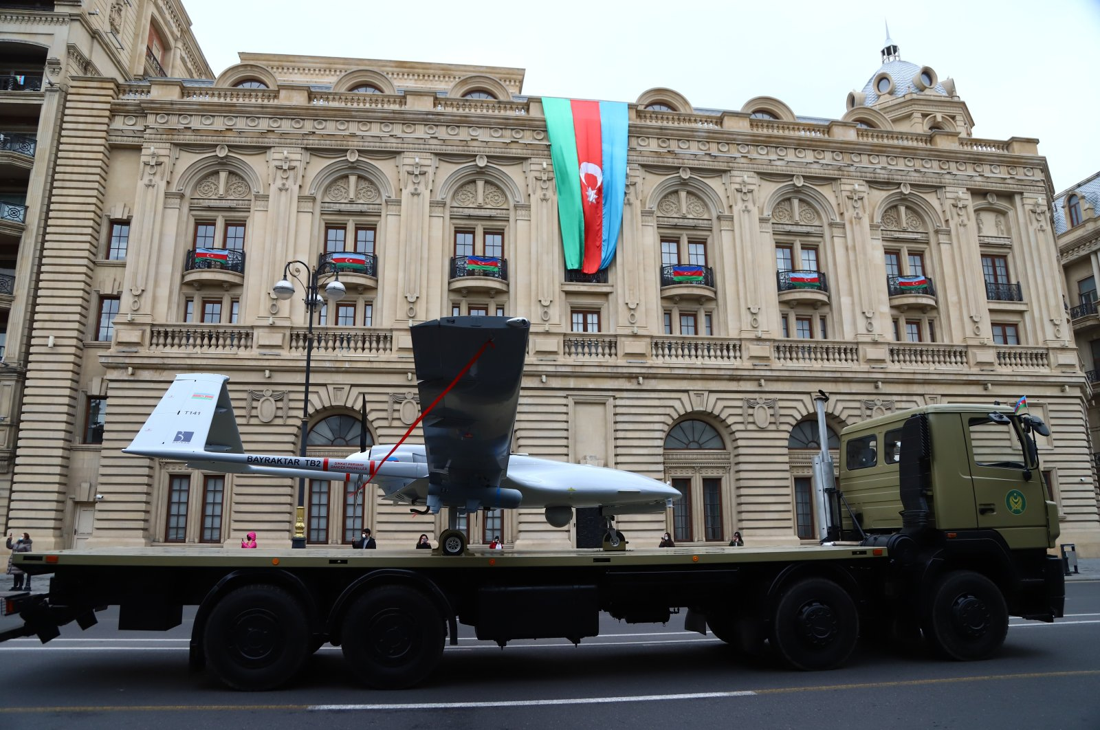 An Azerbaijani army Bayraktar TB2, a medium-altitude, long-endurance combat unmanned aerial vehicle, is displayed during a military parade to mark the victory in the Nagorno-Karabakh conflict, in Baku, Azerbaijan, Dec. 10, 2020. (AA Photo)