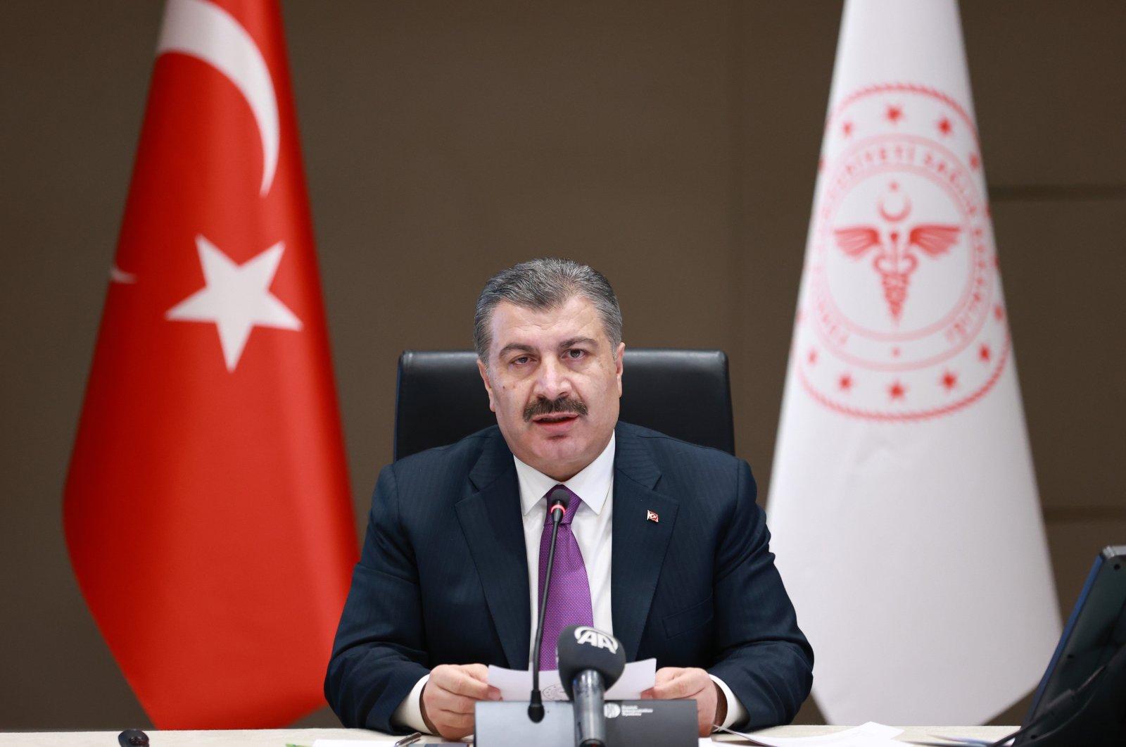 Health Minister Fahrettin Koca speaks at a press conference in the capital Ankara, Turkey, Dec. 24, 2020. (İHA PHOTO)