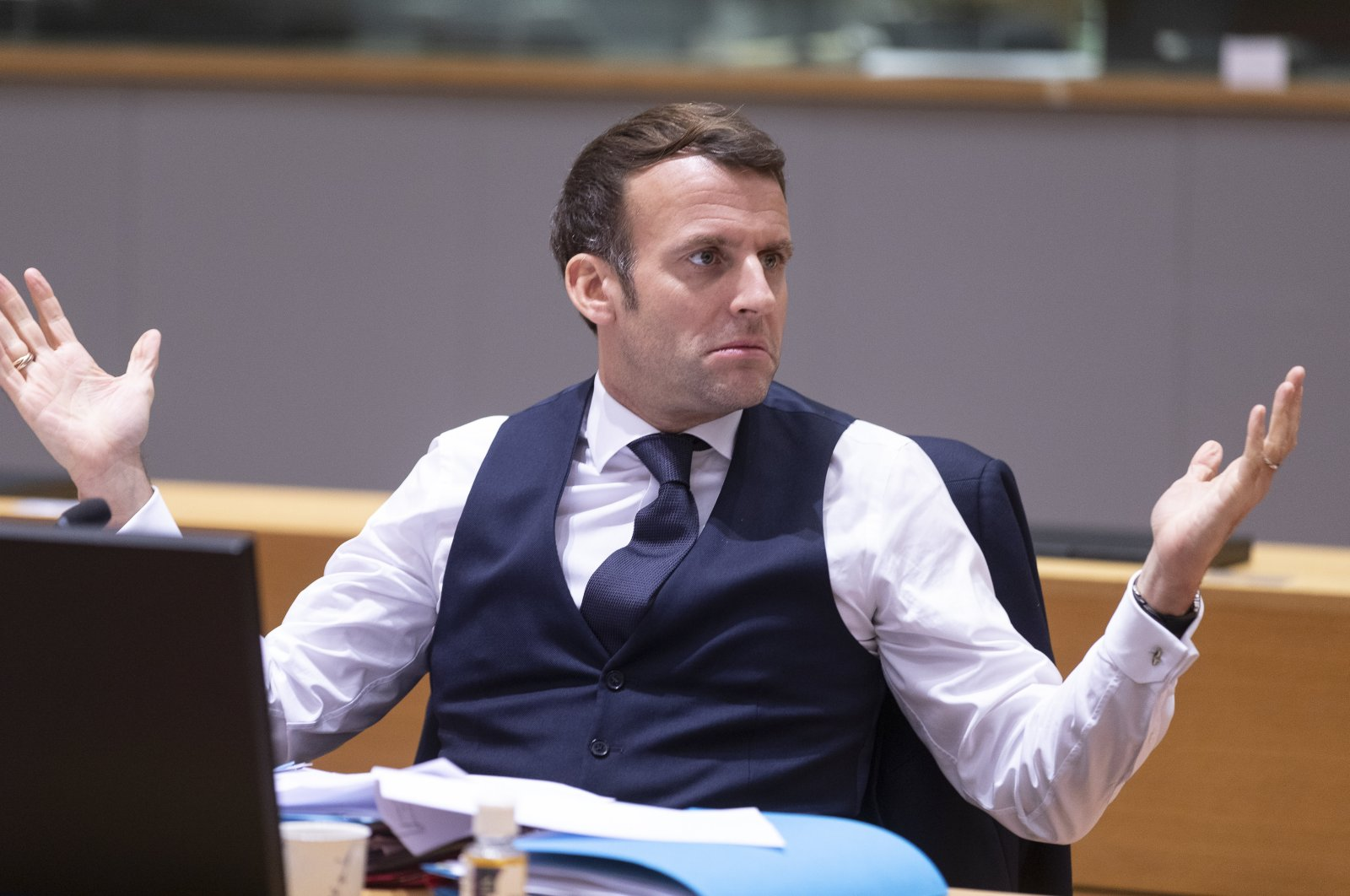 French President Emmanuel Macron gestures during second day of European Council meeting, Dec. 11, 2020. (AA Photo)