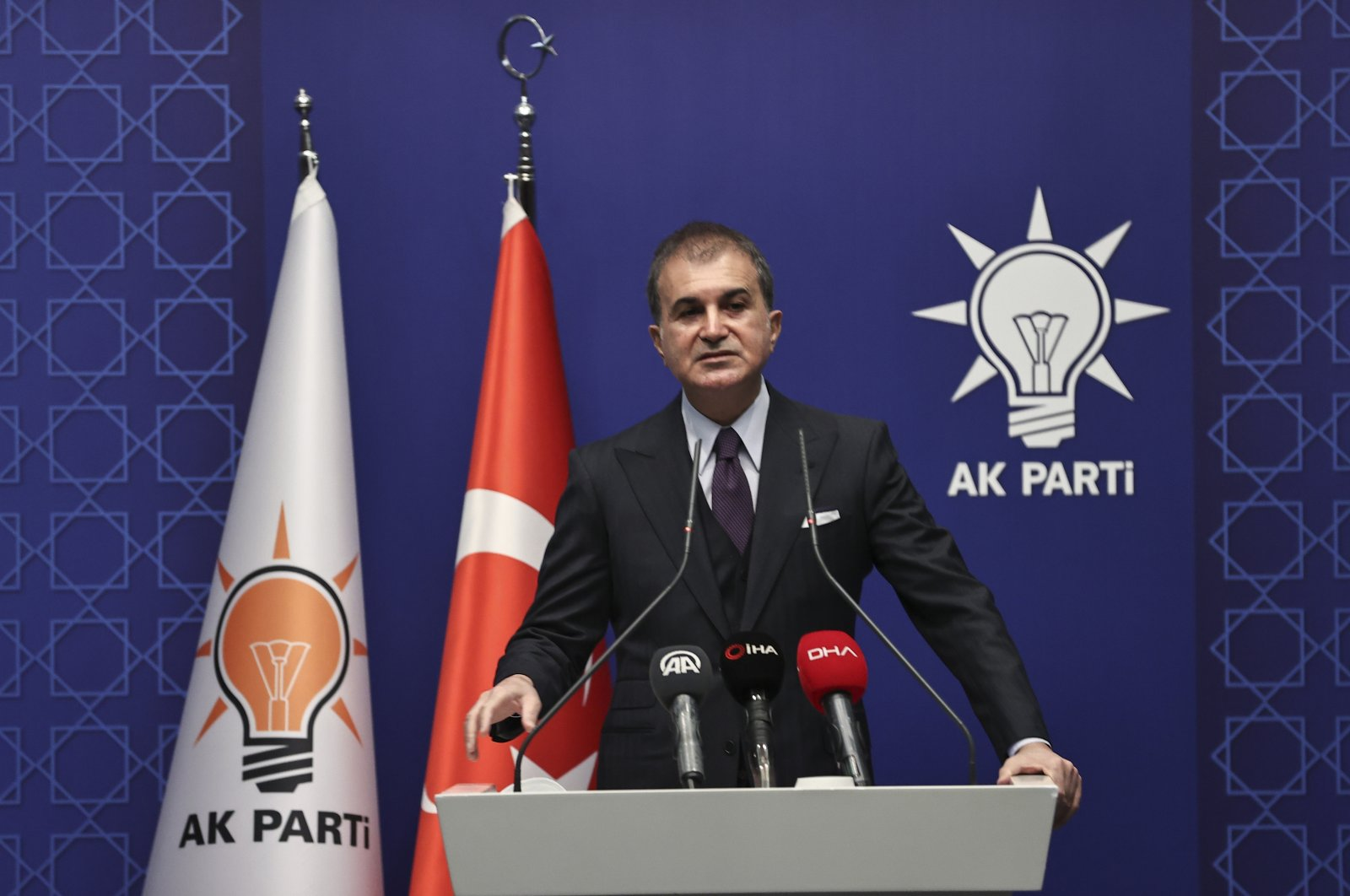 Ruling Justice and Development Party's (AK Party) Spokesperson Ömer Çelik addresses reporters after a party meeting in the capital Ankara, Jan. 4, 2021. (AA Photo)