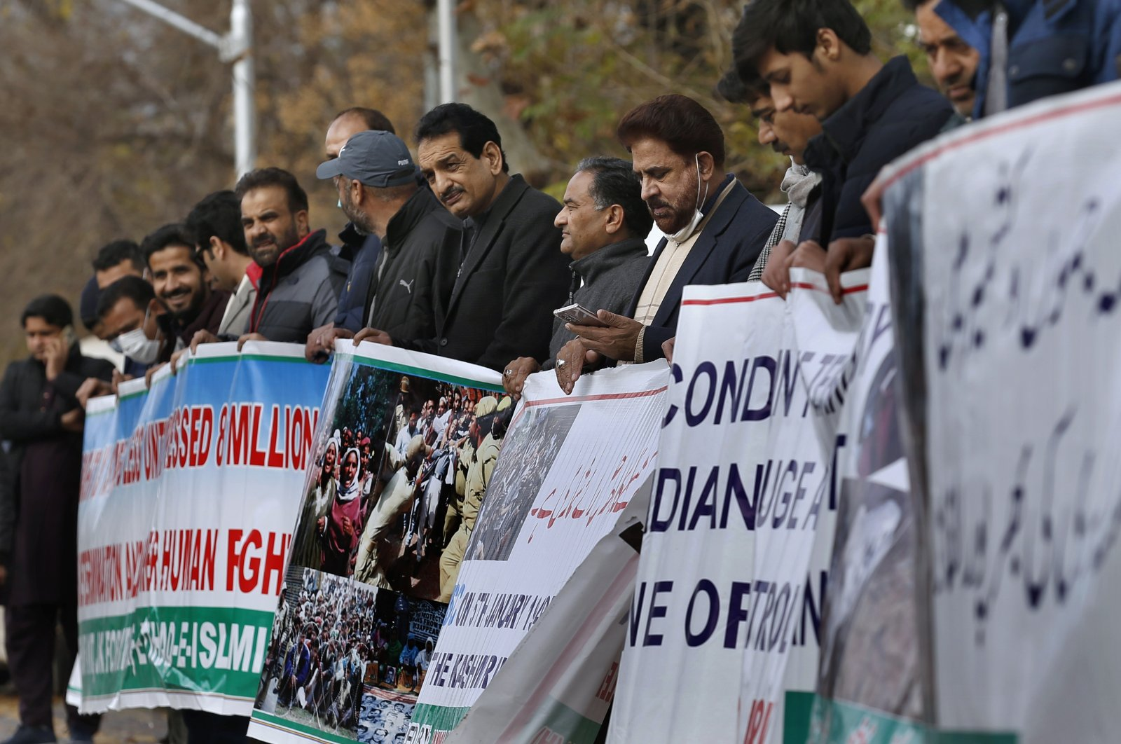 Supporters of the civil society group Jammu Kashmir Forum take part in a demonstration to mark the Right to Self-Determination Day, in Islamabad, Pakistan, Jan. 5, 2020. (AP Photo)
