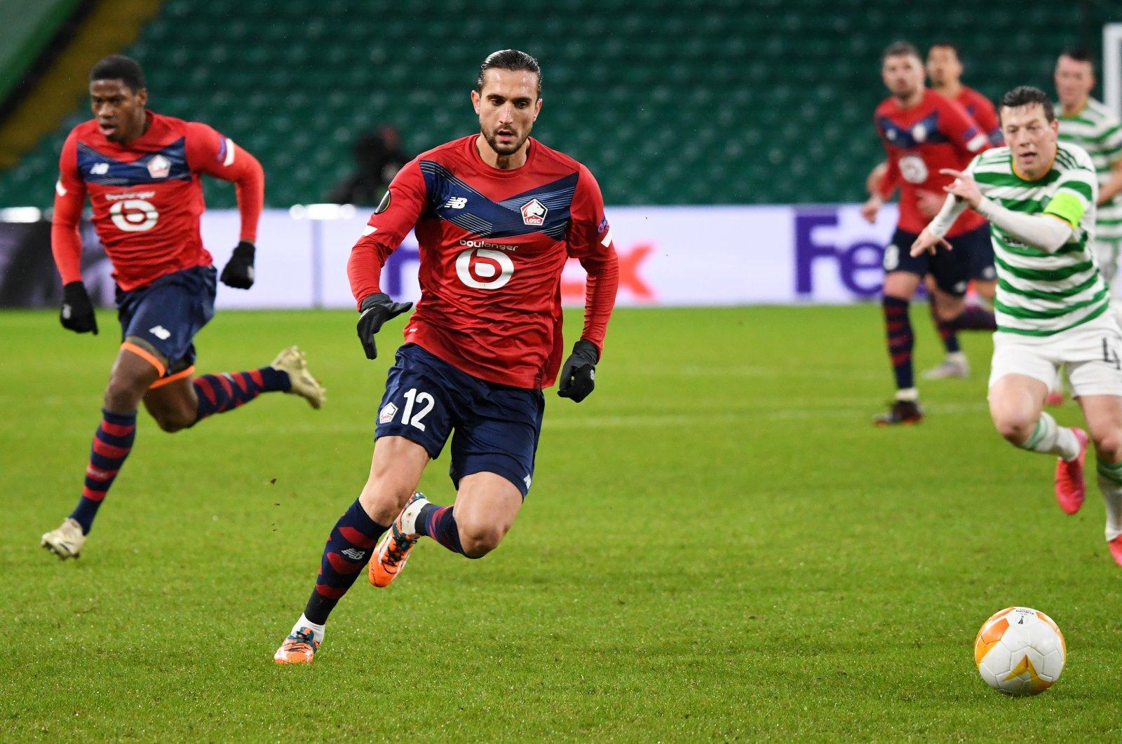 Lille's Yusuf Yazıcı in action during a Europa League match against Celtic Glasgow, in Glasgow, Scotland, Dec. 10, 2020. (EPA Photo)