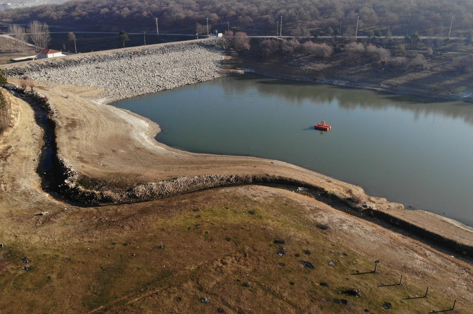 An aerial view of the Gölköy Dam, where the water levels have significantly dropped, in Bolu, northwestern Turkey, Dec. 30, 2020. (IHA Photo)
