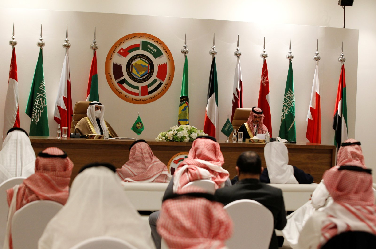 Secretary-General of the Gulf Cooperation Council (GCC) Nayef Falah al-Hajraf and Saudi Arabia's Foreign Minister Prince Faisal bin Farhan Al Saud speak during a joint news conference at the Gulf Cooperation Council's (GCC) 41st Summit in Al-Ula, Saudi Arabia on Jan. 5, 2021. (Reuters Photo)