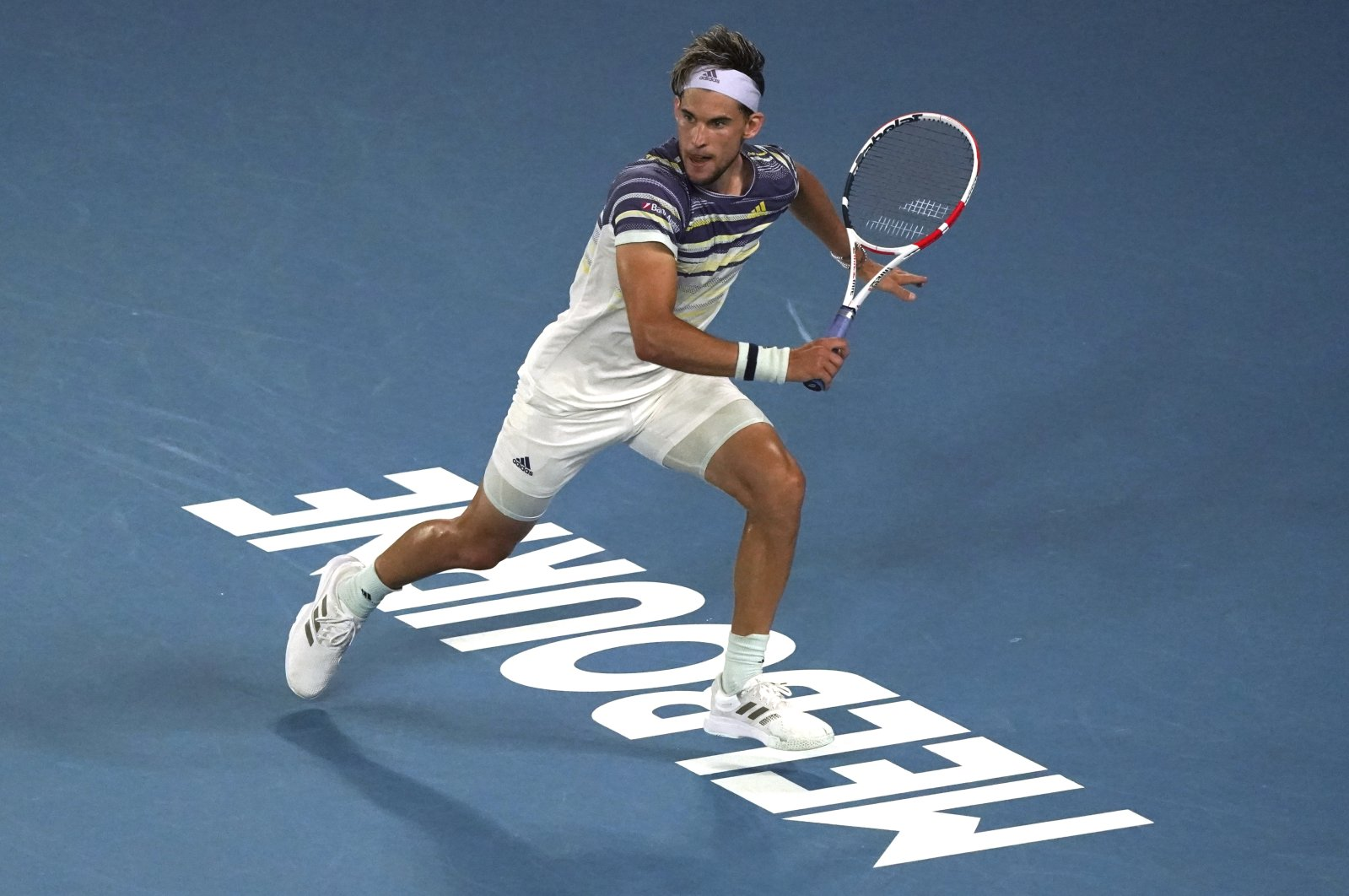 Dominic Thiem in action during an Australian Open quarterfinal match, in Melbourne, Australia, Jan. 29, 2020. (AP Photo)