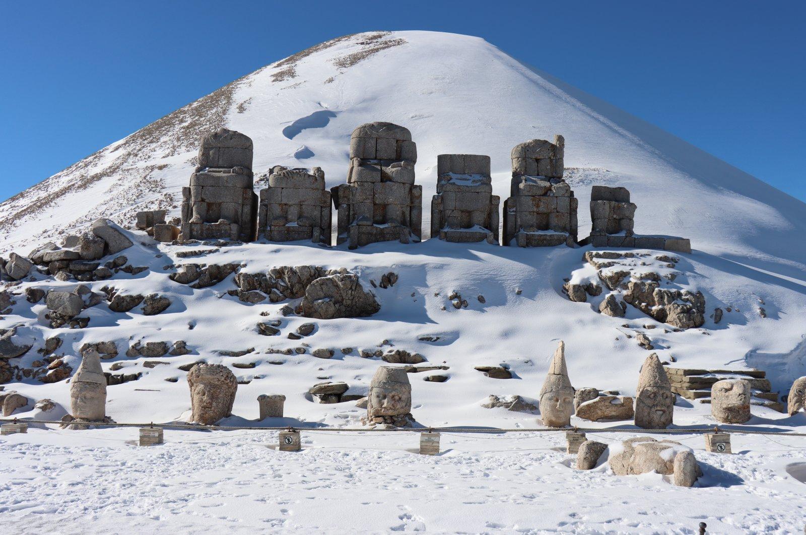 Stone statues on Mount Nemrut, Adıyaman, eastern Turkey, Jan. 5, 2021. (AA Photo)