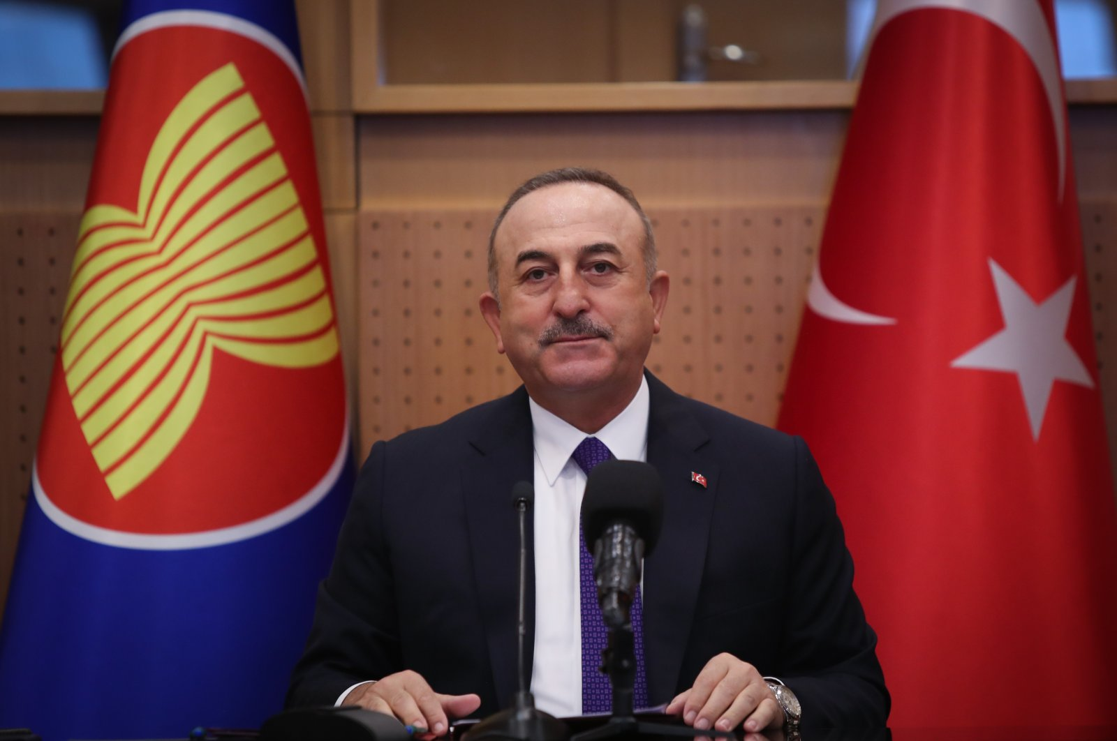 Foreign Minister Mevlüt Çavuşoğlu during a meeting with the ambassadors of the ASEAN member countries in Ankara, Jan. 6, 2021. (AA)