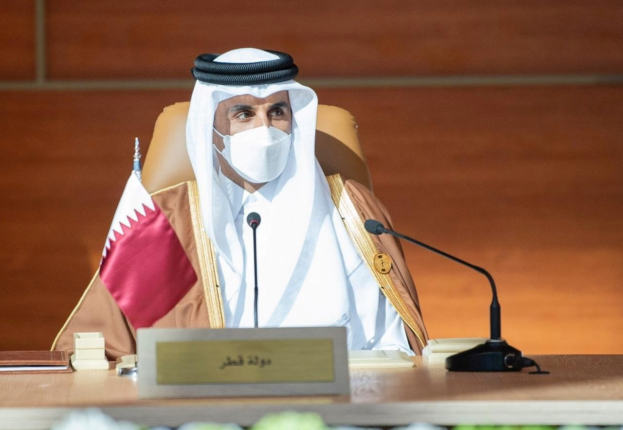 Qatar's Emir Sheikh Tamim bin Hamad Al Thani attends the Gulf Cooperation Council's (GCC) 41st Summit in Al-Ula, Saudi Arabia, Jan. 5, 2021. (Reuters Photo)