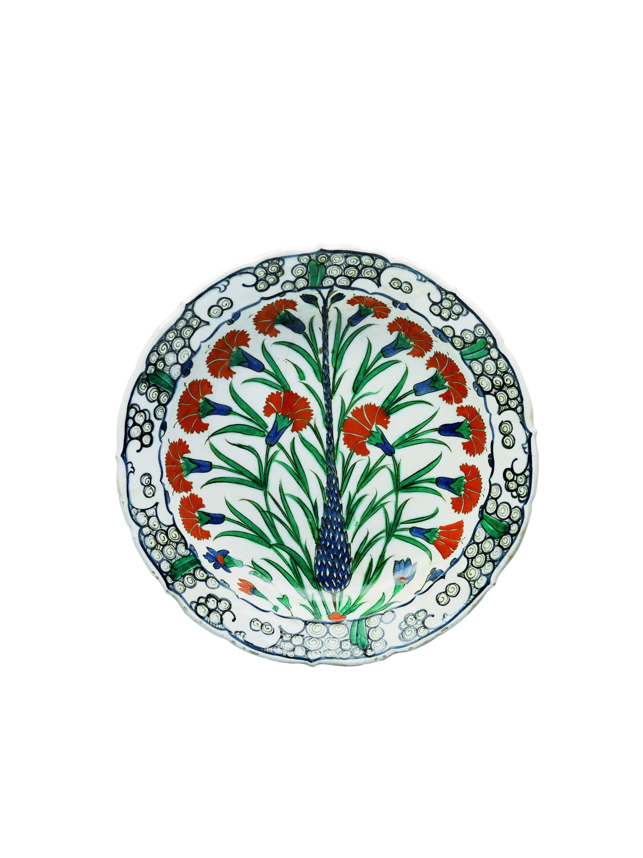 A ceramic plate made in Ottoman Iznik between 1570–1575.