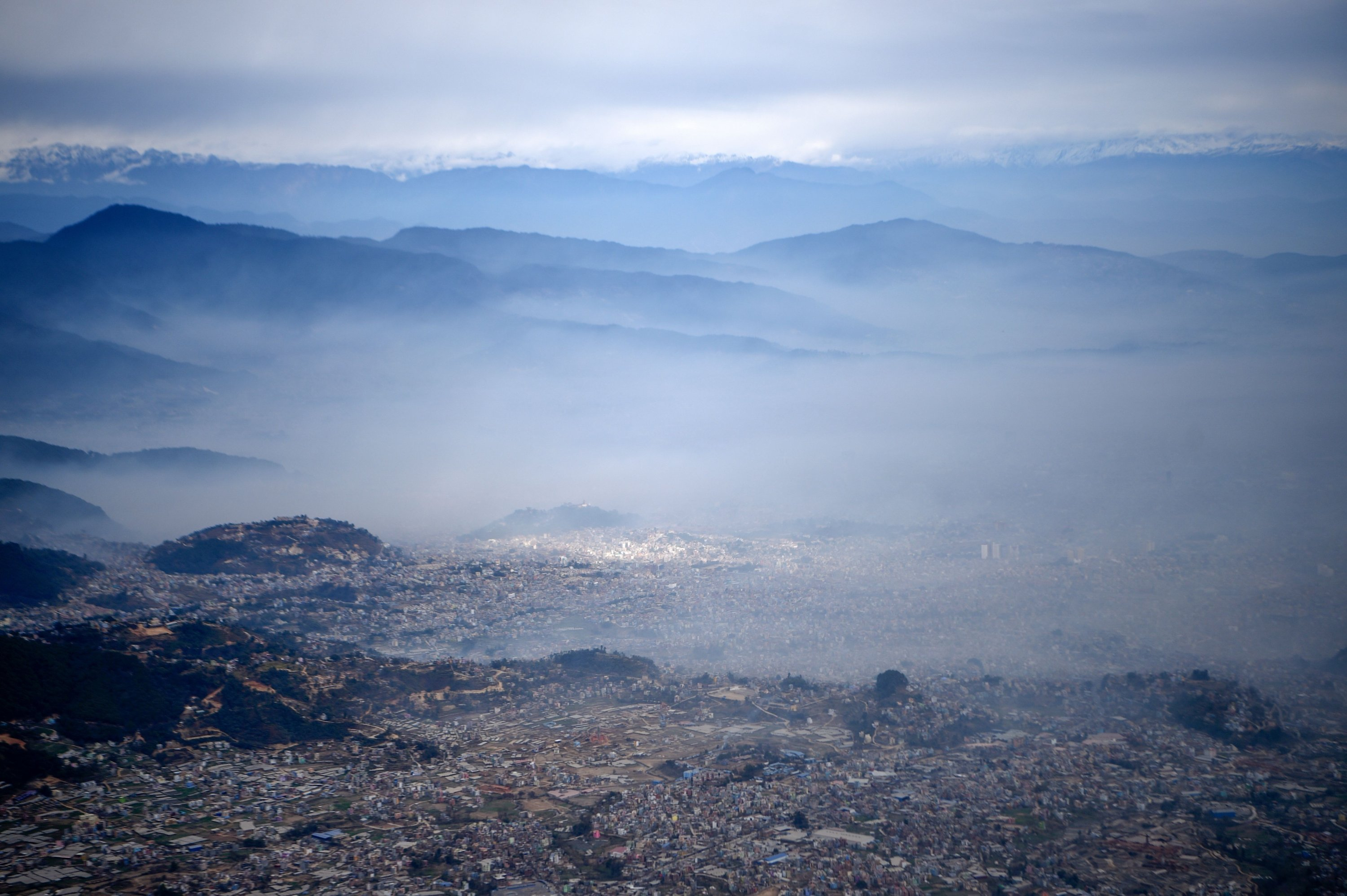 This general view shows low visibility due to air pollution in the urban area of the Kathmandu Valley, in Kathmandu, Nepal, Jan. 5, 2021. (AFP Photo)