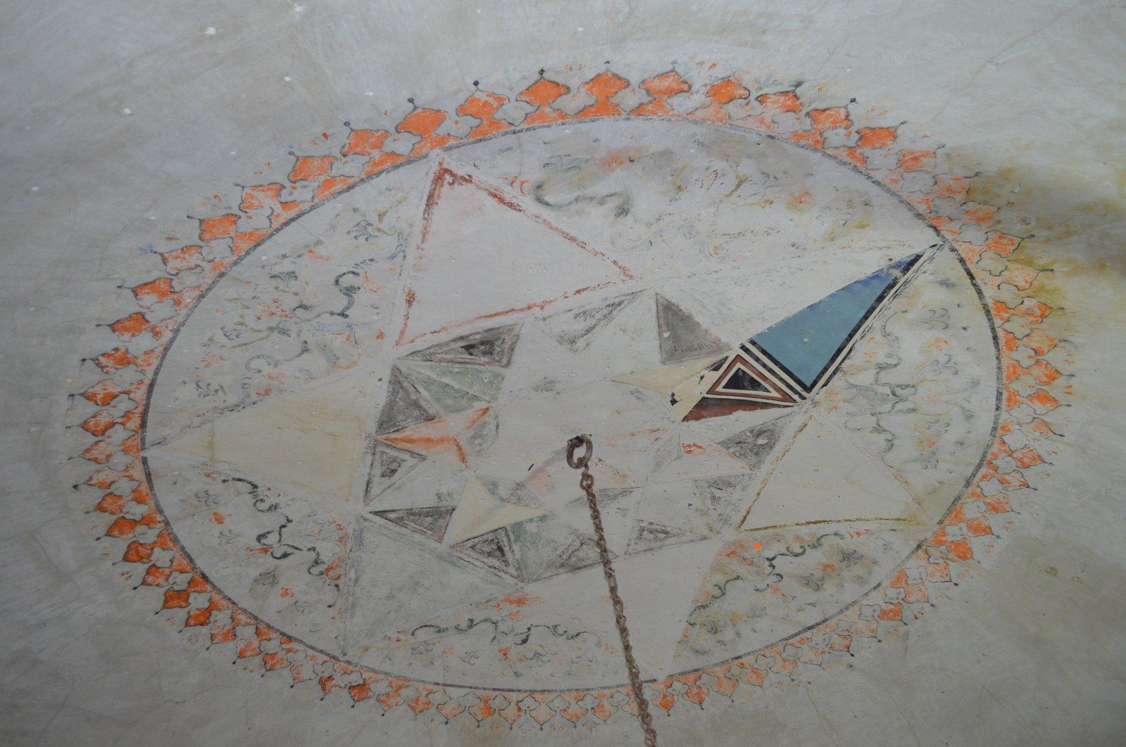 An Ottoman-era hand-drawn motif in the Yusuf Ziya Pasha Mosque, Elazığ, eastern Turkey, Jan. 6, 2021. (DHA Photo)
