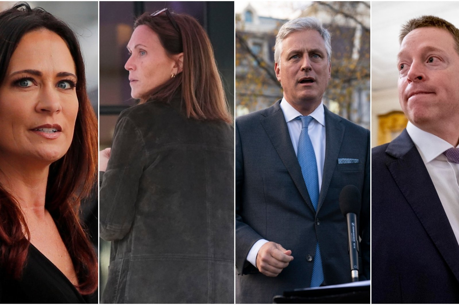 Photo shows (L-R) Stephanie Grisham, former chief of staff to the first lady, Rickie Nieta, former White House social secretary, and national security adviser Robert O'Brien and his deputy, Matthew Pottinger.