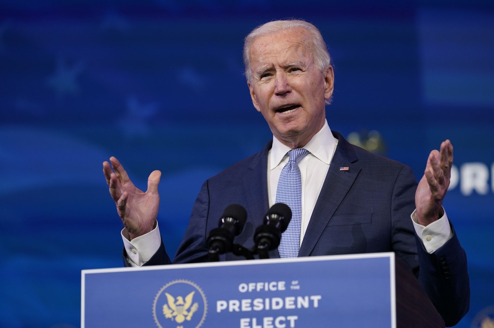 U.S. President-elect Joe Biden speaks at The Queen theater in Wilmington, Delaware, U.S., Jan. 6, 2021. (AP Photo)