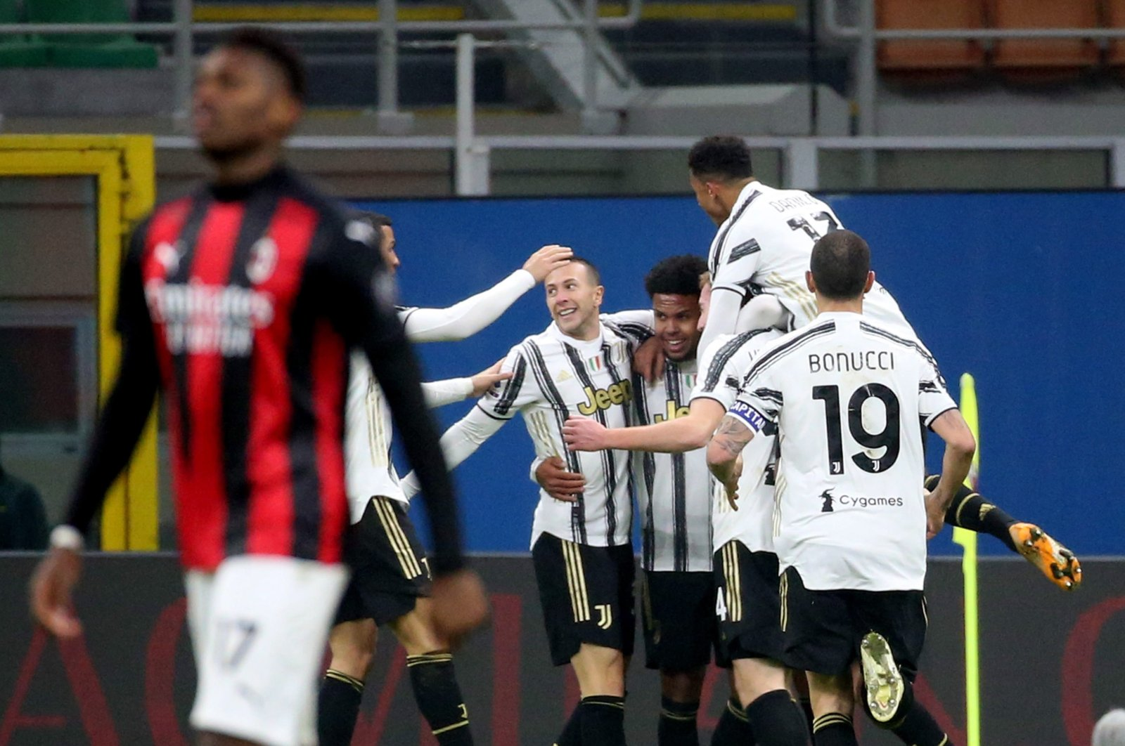 Juventus players celebrate a goal during a Serie A match against AC Milan at the Giuseppe Meazza stadium in Milan, Italy, Jan. 6, 2021. (AFP Photo)