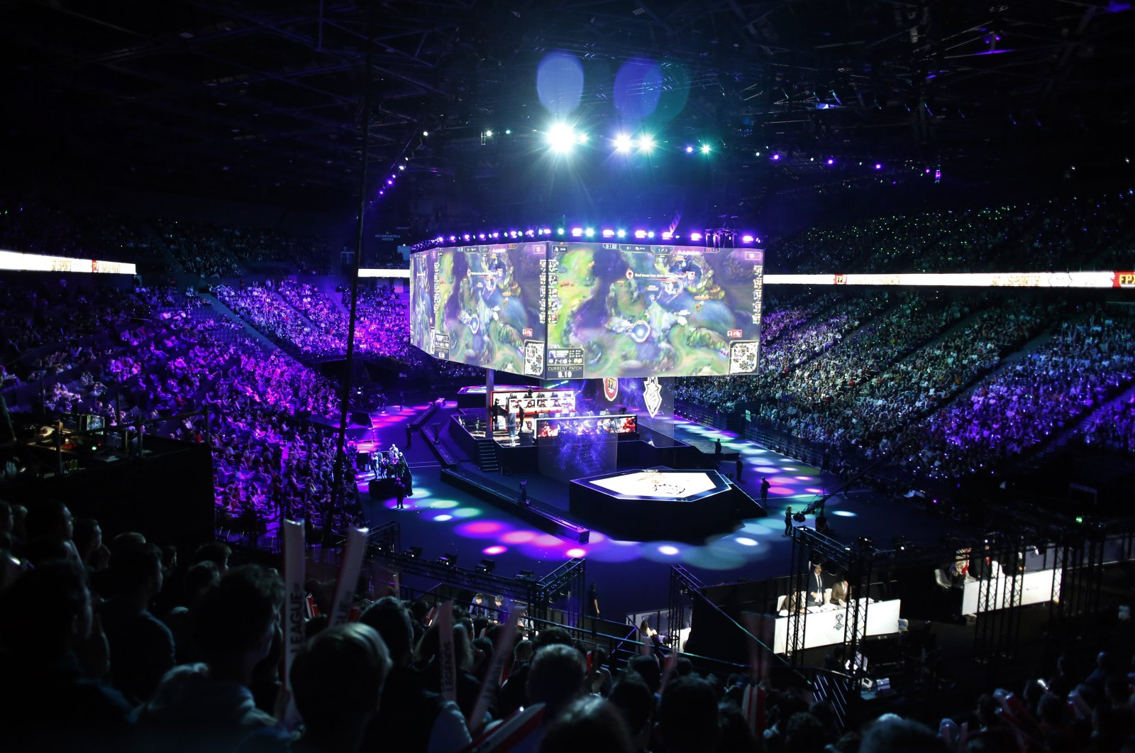A general view during the final of League of Legends tournament between Team G2 Esports and Team FunPlus Phoenix, in Paris, Nov. 10, 2019. (AP Photo)