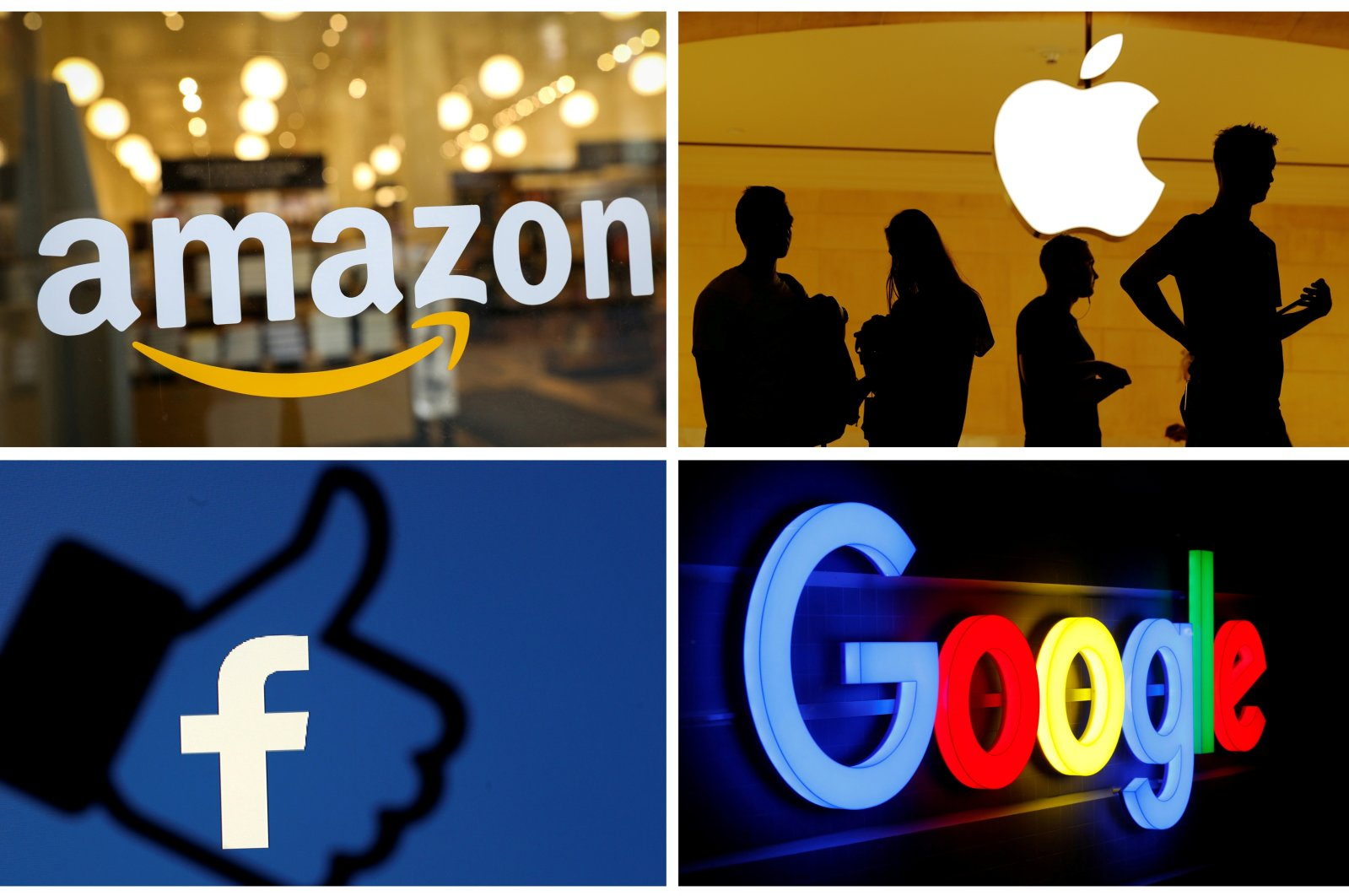 The logos of Amazon, Apple, Facebook and Google are seen in a combination photo. (Reuters Photo)