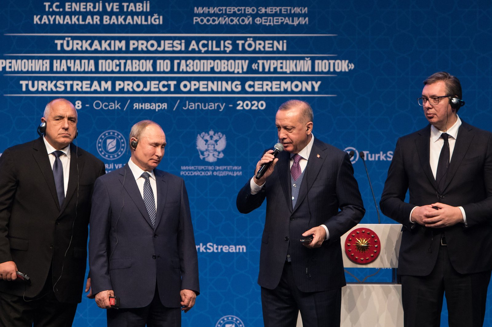 President Recep Tayyip Erdoğan (2nd R) speaks beside Russian President Vladimir Putin (2nd L), Bulgarian Prime Minister Boyko Borisov (L) and Serbian President Aleksandar Vucic during the inauguration ceremony for the TurkStream natural gas pipeline, Istanbul, Turkey, Jan. 8, 2020. (Getty Images)