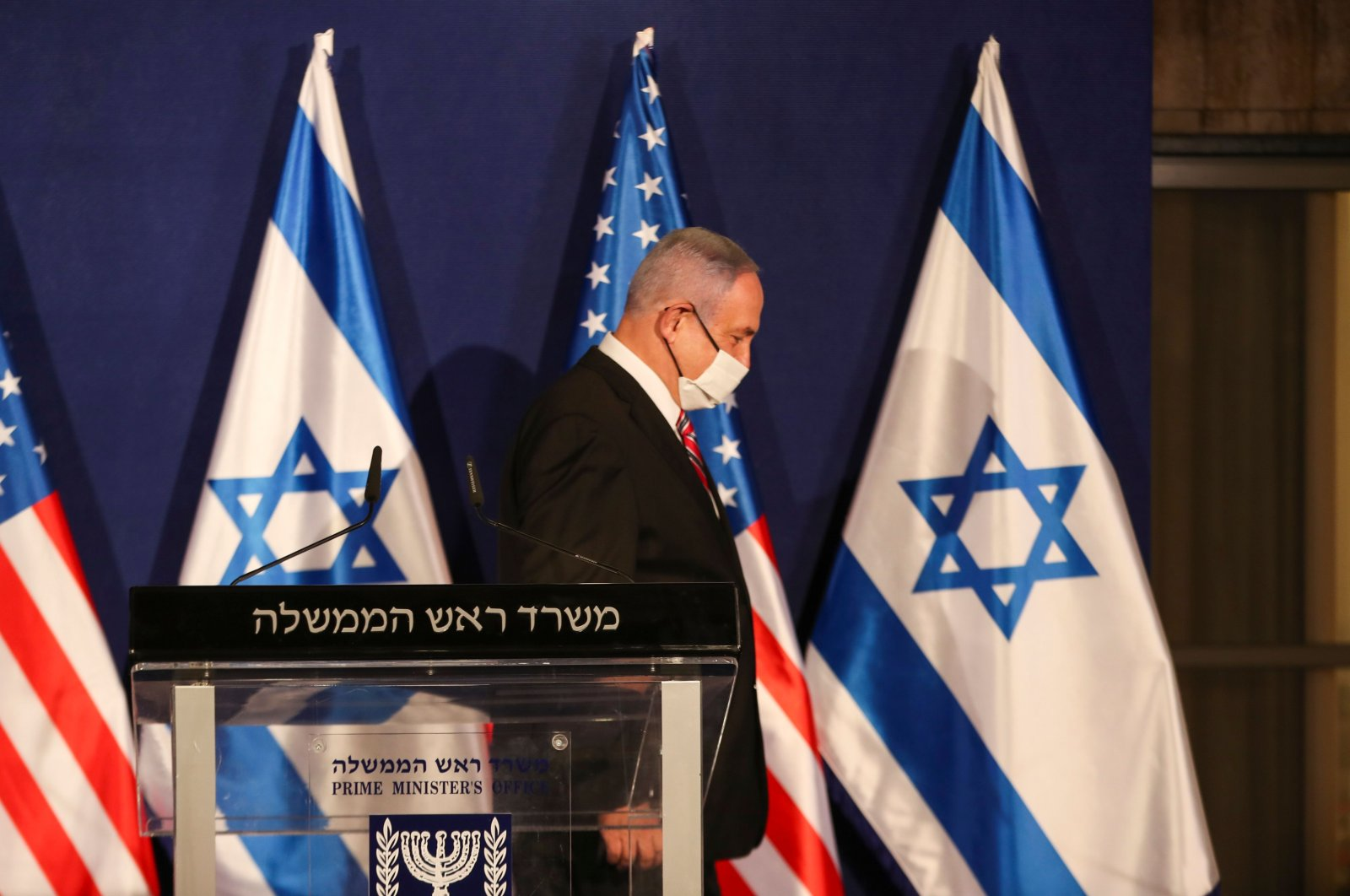 Israeli Prime Minister Benjamin Netanyahu leaves after a news conference with a U.S. residential adviser in Jerusalem, Dec. 21, 2020. (AFP Photo)