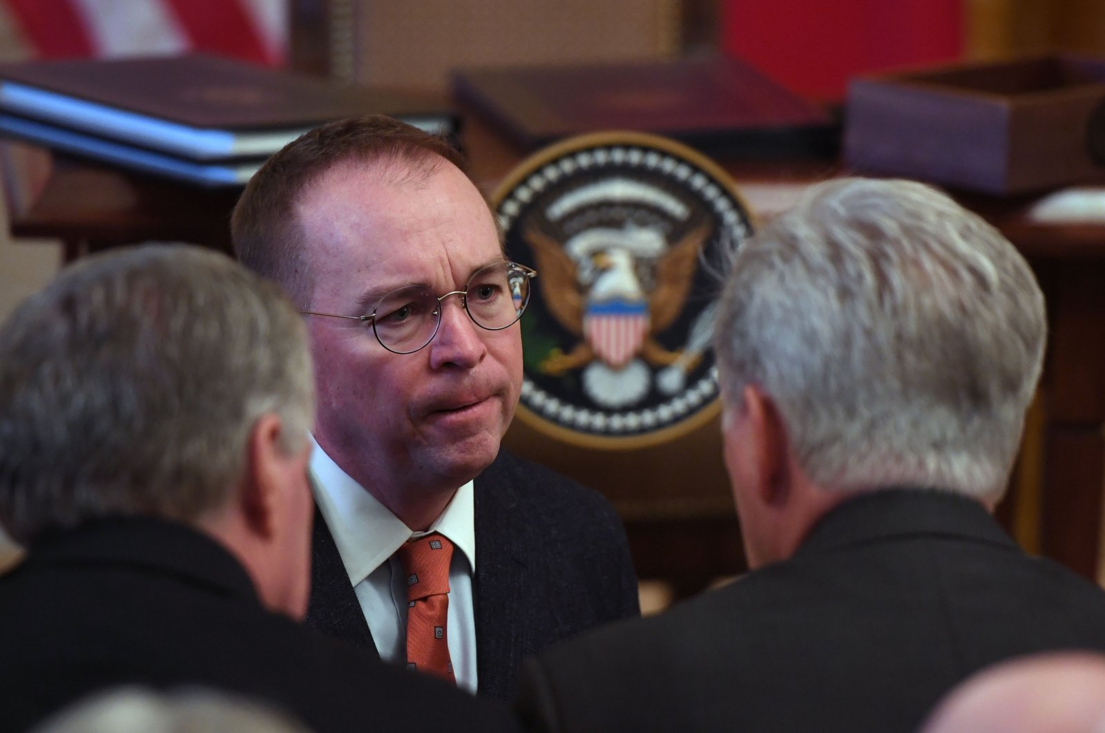 White House Director of the Office of Management and Budget Mick Mulvaney arrives for the signing of a trade agreement with the U.S. and China in the East Room of the White House in Washington, D.C., U.S., Jan. 15, 2020. (AFP Photo)