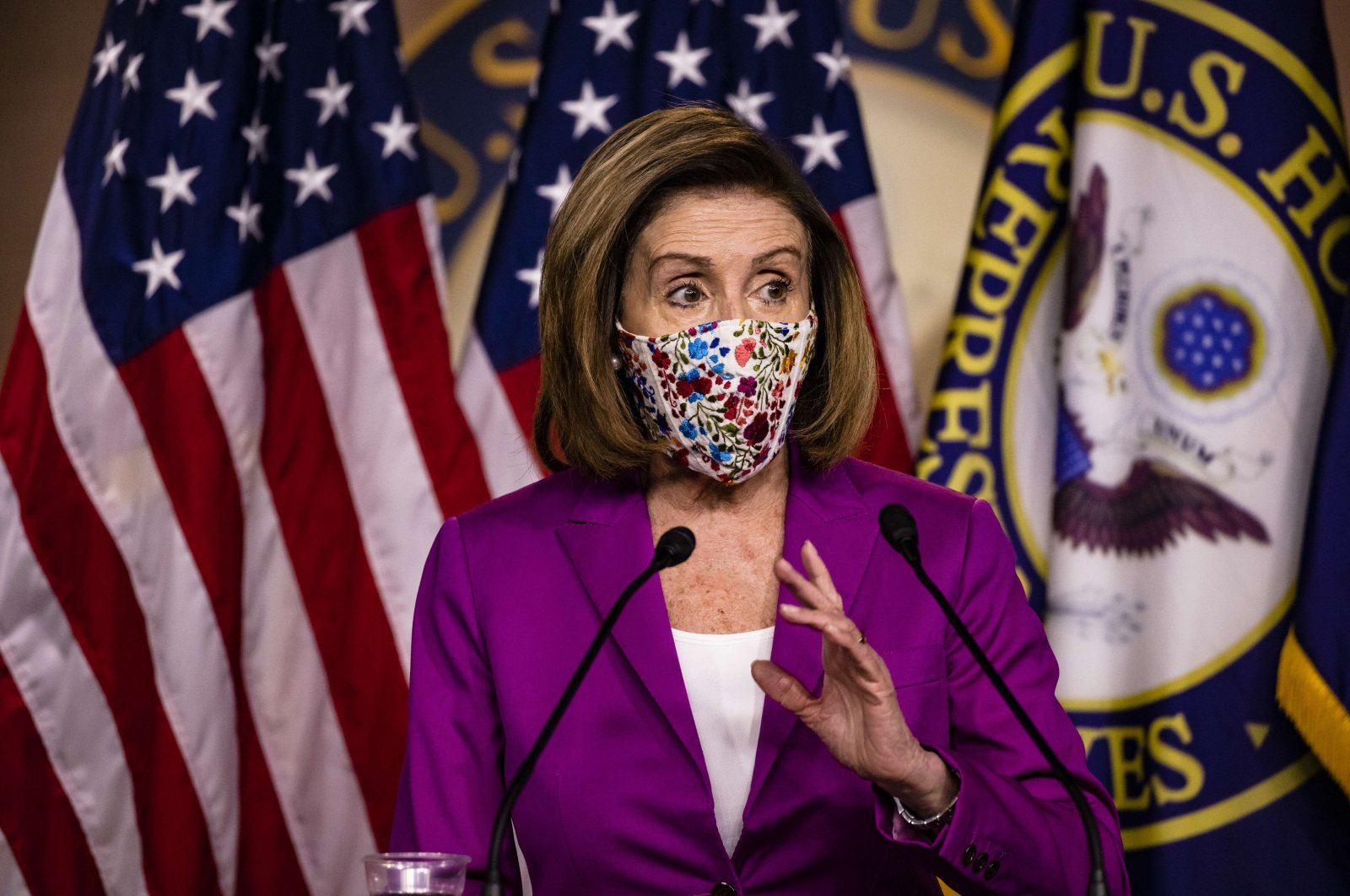 Speaker of the House Nancy Pelosi calls for the removal of President Donald Trump from office either by invocation of the 25th Amendment by Vice President Mike Pence and a majority of the Cabinet members or Impeachment at the U.S. Capitol on January 7, 2021 in Washington, DC. (AFP Photo)